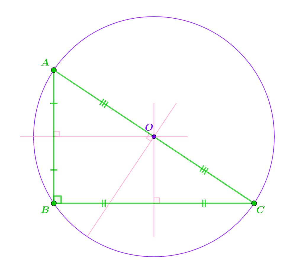 Mathématiques seconde géométrie plane triangle rectangle cercle circonscrit