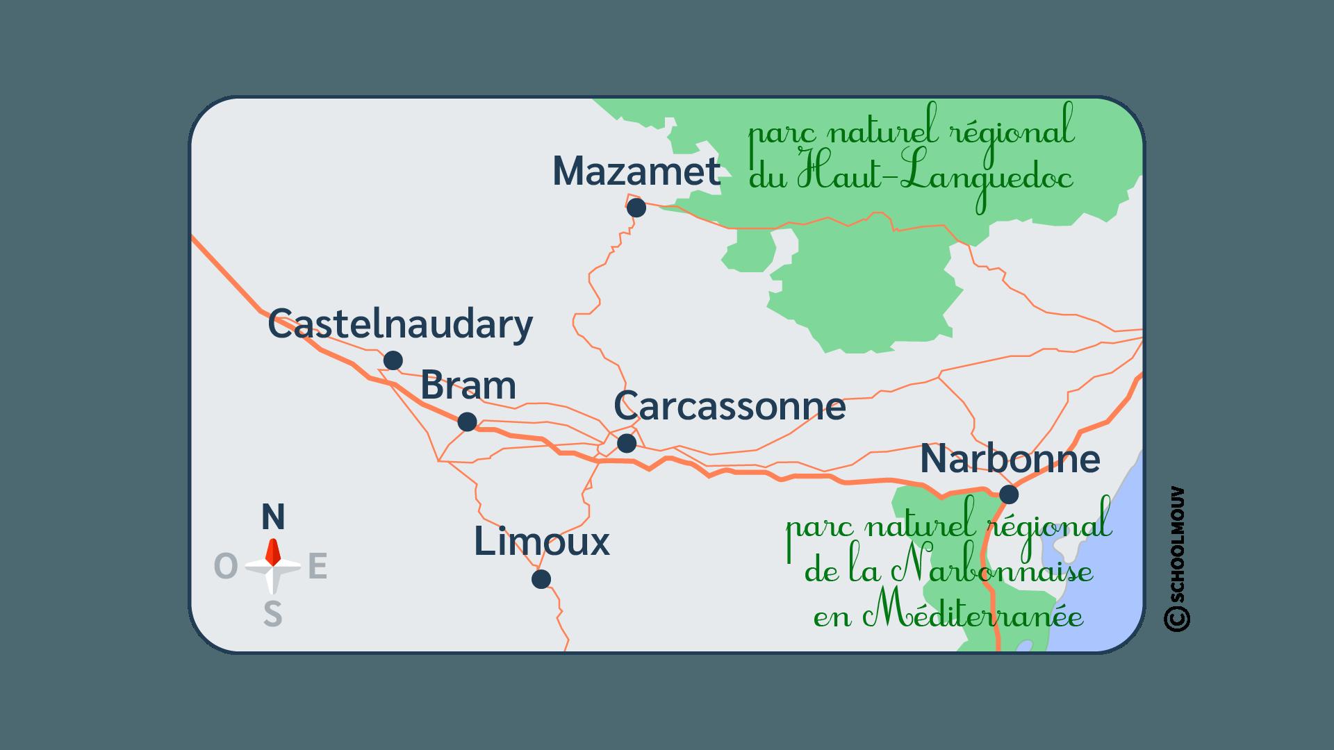 primaire questionner le monde géographie ce1 définir la position d'une personne d'un objet d'un lieu repérer carte Carcassonne