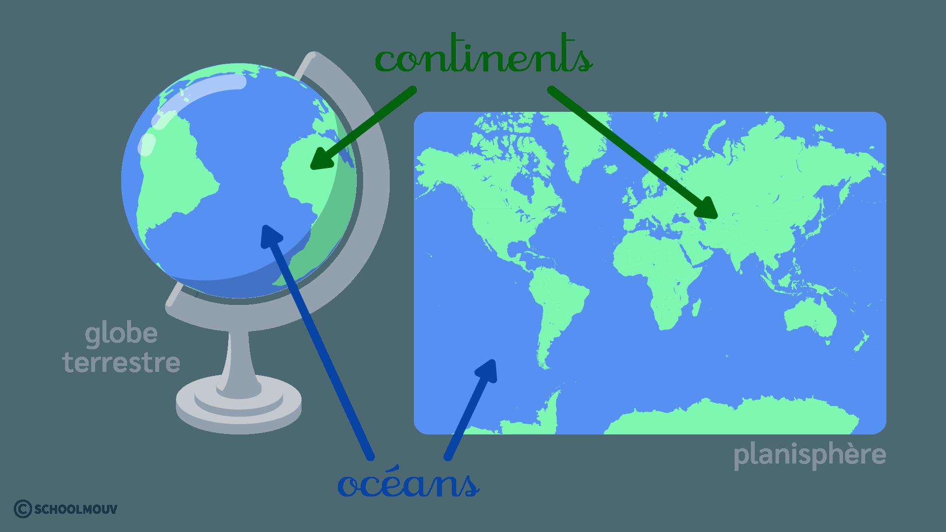 primaire questionner le monde ce1 décrire la Terre continents et océans