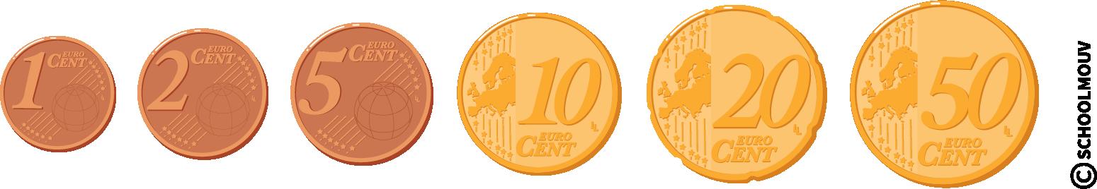 Pièces de monnaie - centimes - un centime - deux centimes - cinq centimes - dix centimes - vingt centimes - cinquante centimes - SchoolMouv - Maths - CE1