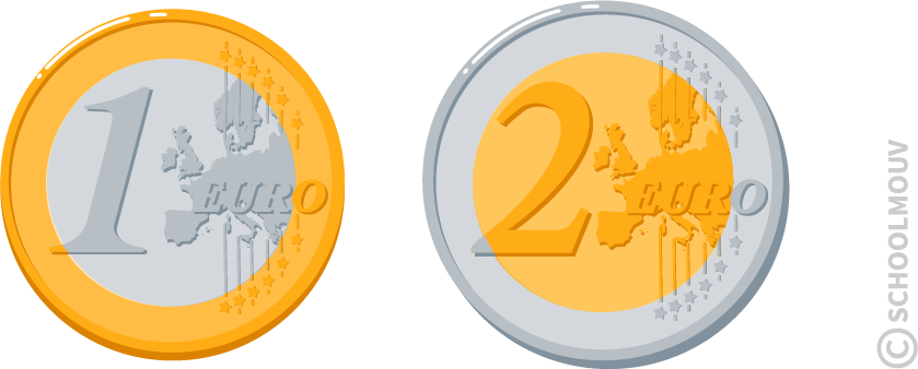 Pièces de monnaie - euros - un euro - deux euros - SchoolMouv - Maths - CE1