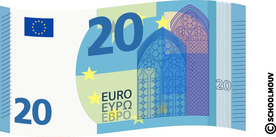 Billet de 20 euros - SchoolMouv - Maths - CE1