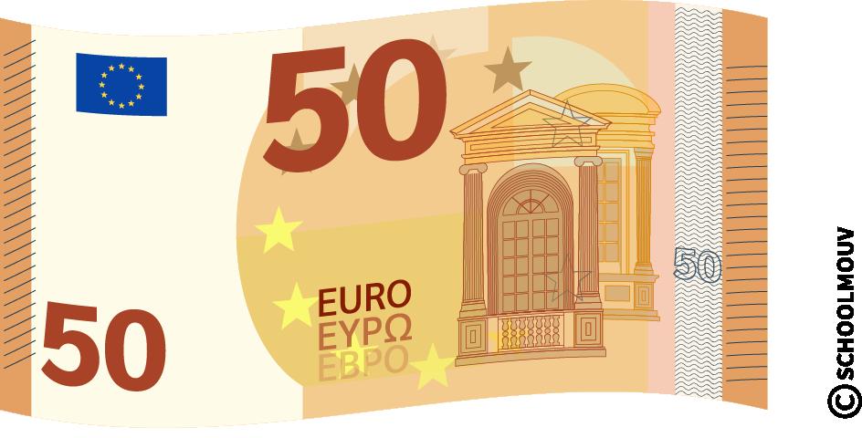 Billet de 50 euros - SchoolMouv - Maths - CE1