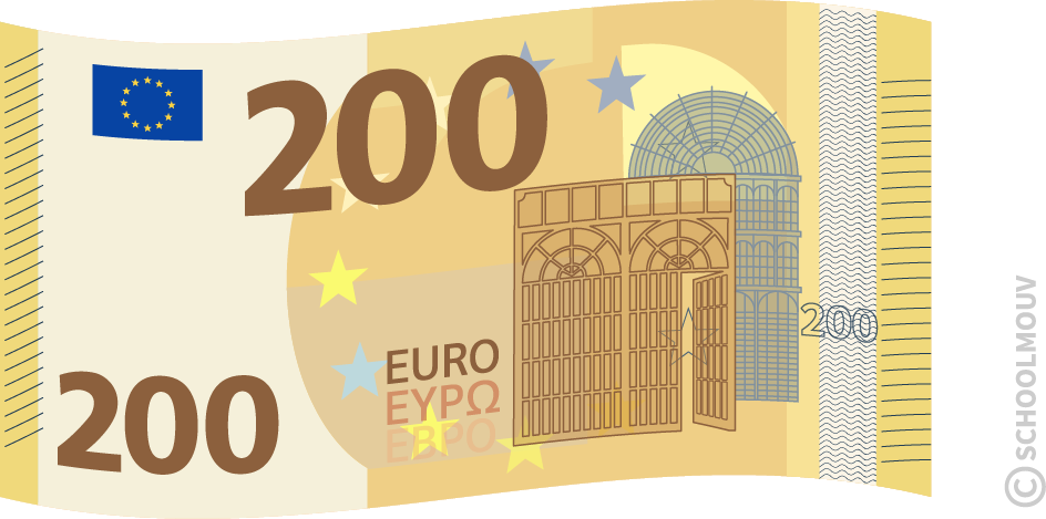 Billet de 200 euros - SchoolMouv - Maths - CE1