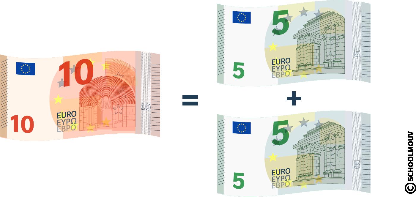 Équivalence entre billets et pièces - dix euros - cinq euros - SchoolMouv - Maths - CE1