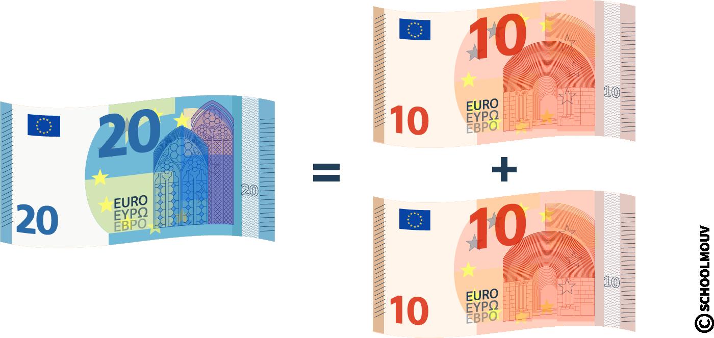 Équivalence entre billets et pièces - vingt euros - dix euros - SchoolMouv - Maths - CE1
