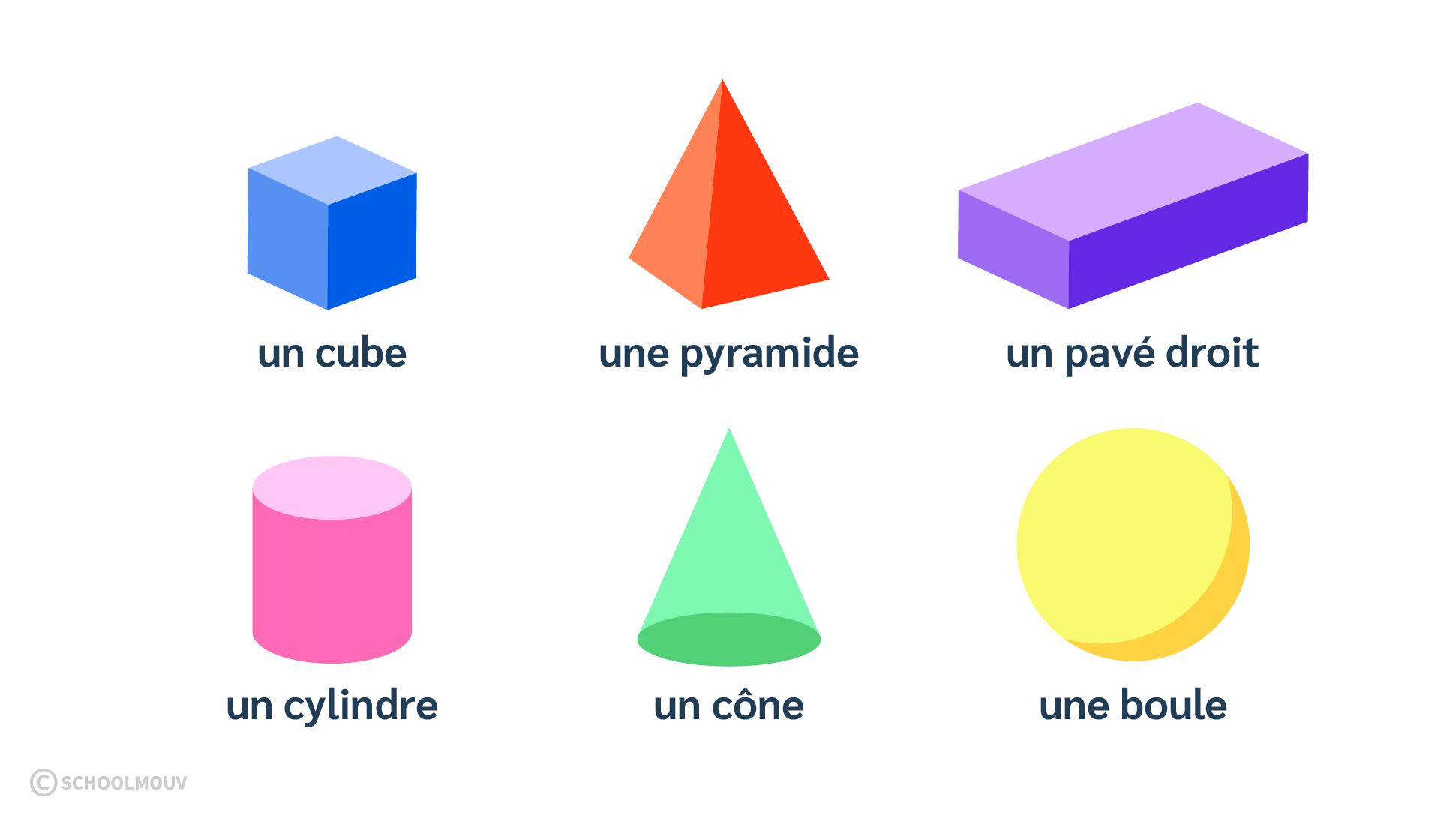 Solides en 3 dimensions - Cube - Pavé - Pyramide - Cylindre - Boule - Cône - SchoolMouv - Maths - CE1