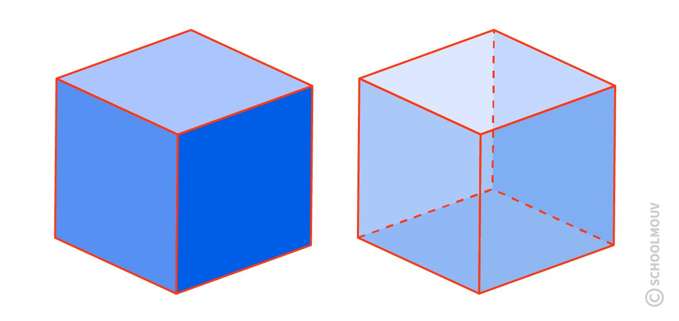 Cube - Coupe transversale - Polyèdre - Solide - Géométrie - SchoolMouv - Maths - CE1