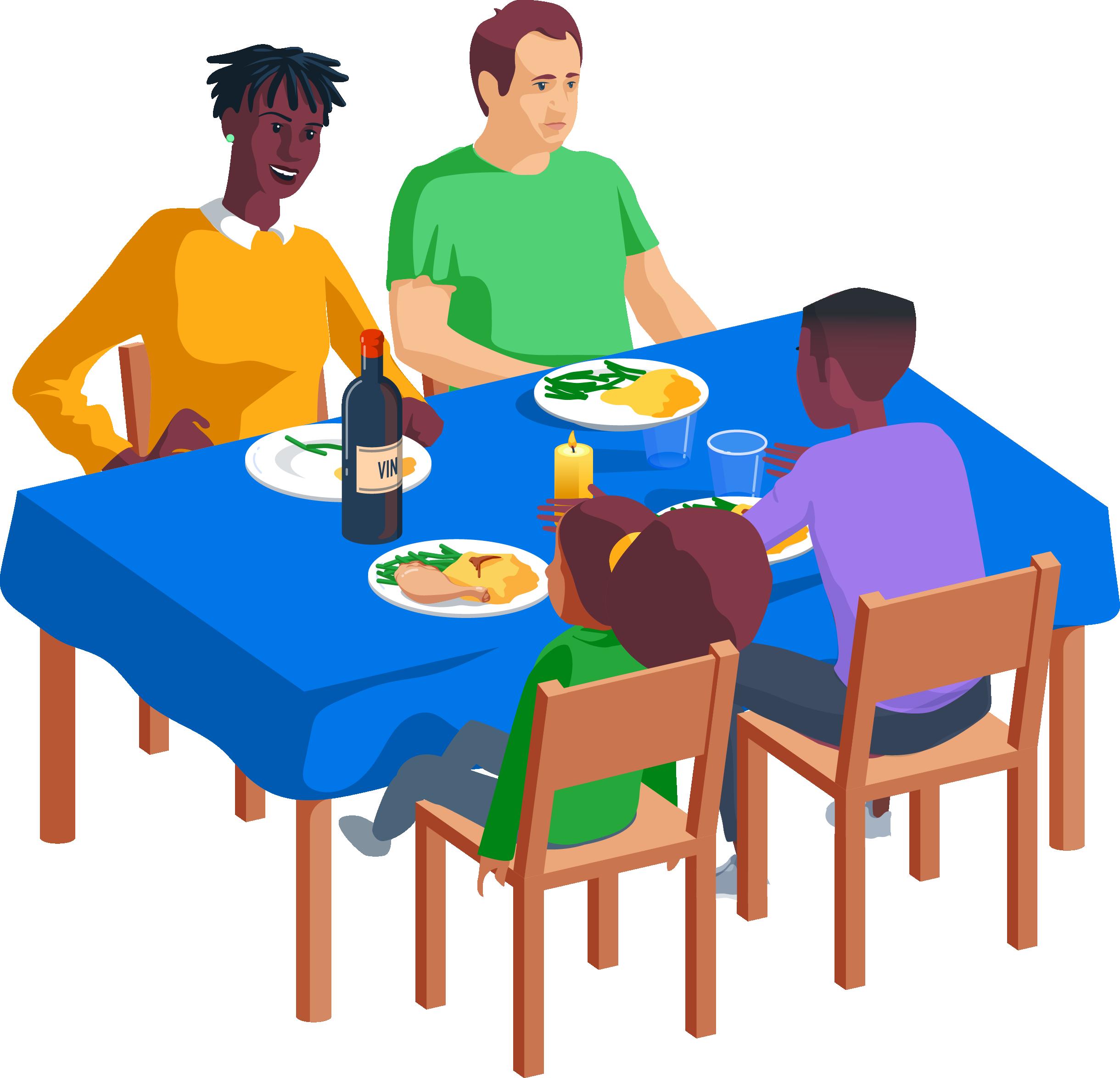 Repas - Famille - Nourriture - Plat - Assiette - Table - Chaises - SchoolMouv - Mathématiques - CE1