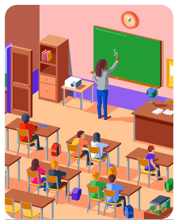 École - Professeur - Élèves - Apprendre - Tables - Tableau - Craie - SchoolMouv - Mathématiques - CE1
