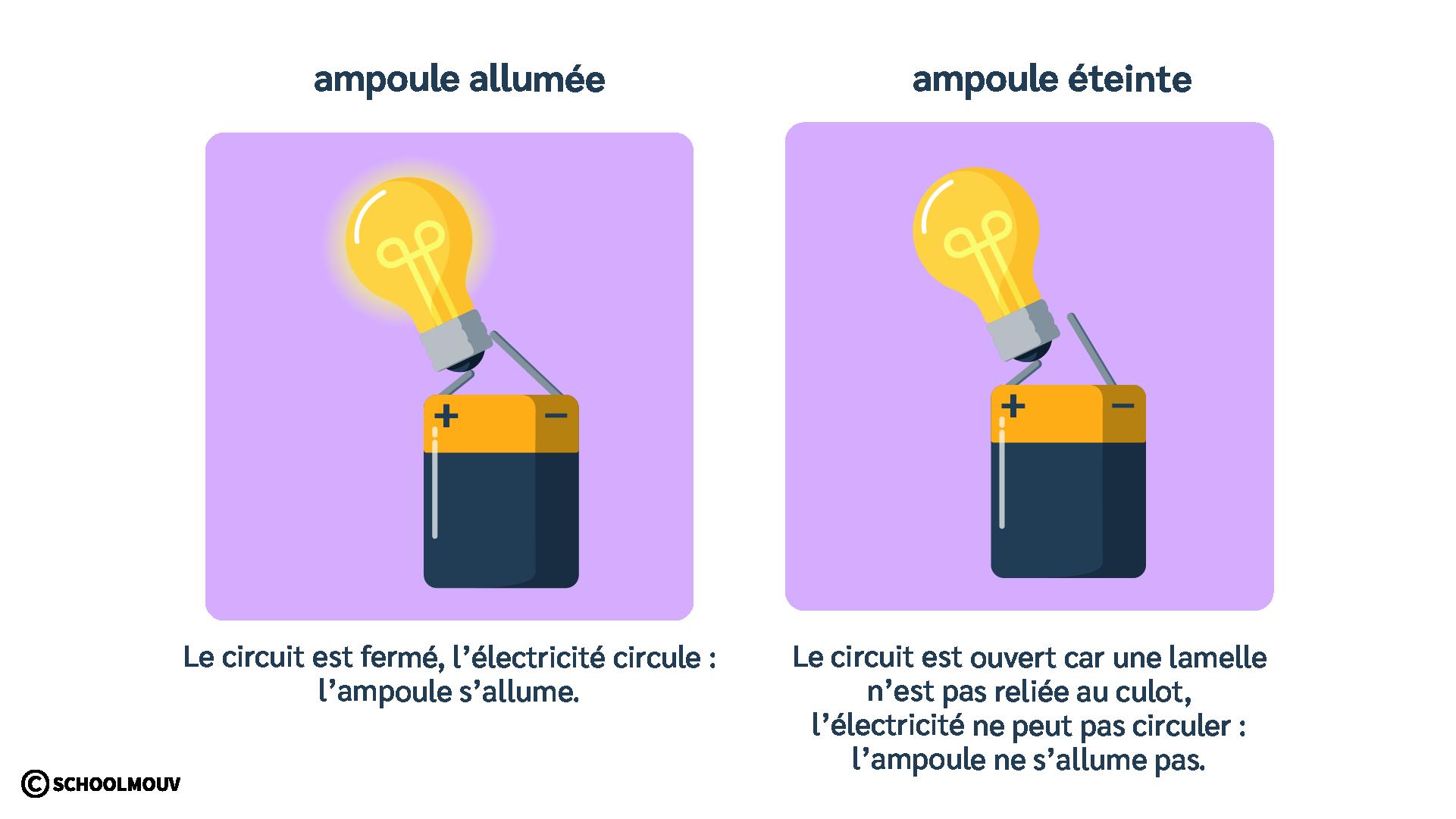 Ampoule - Pile plate - Circulation de l'électricité - Circuit électrique - SchoolMouv - Sciences - CE1