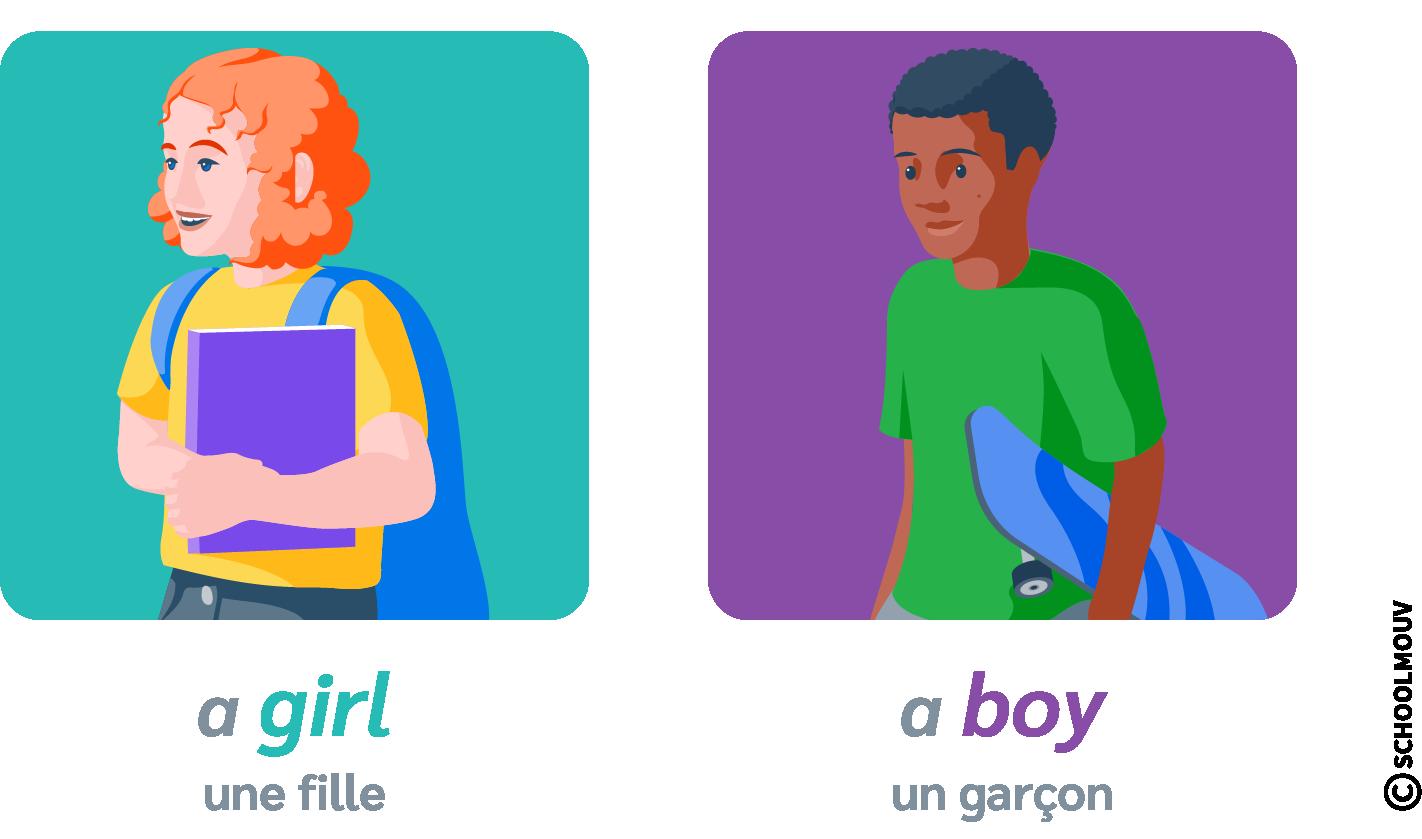 a girl a boy anglais garçon fille