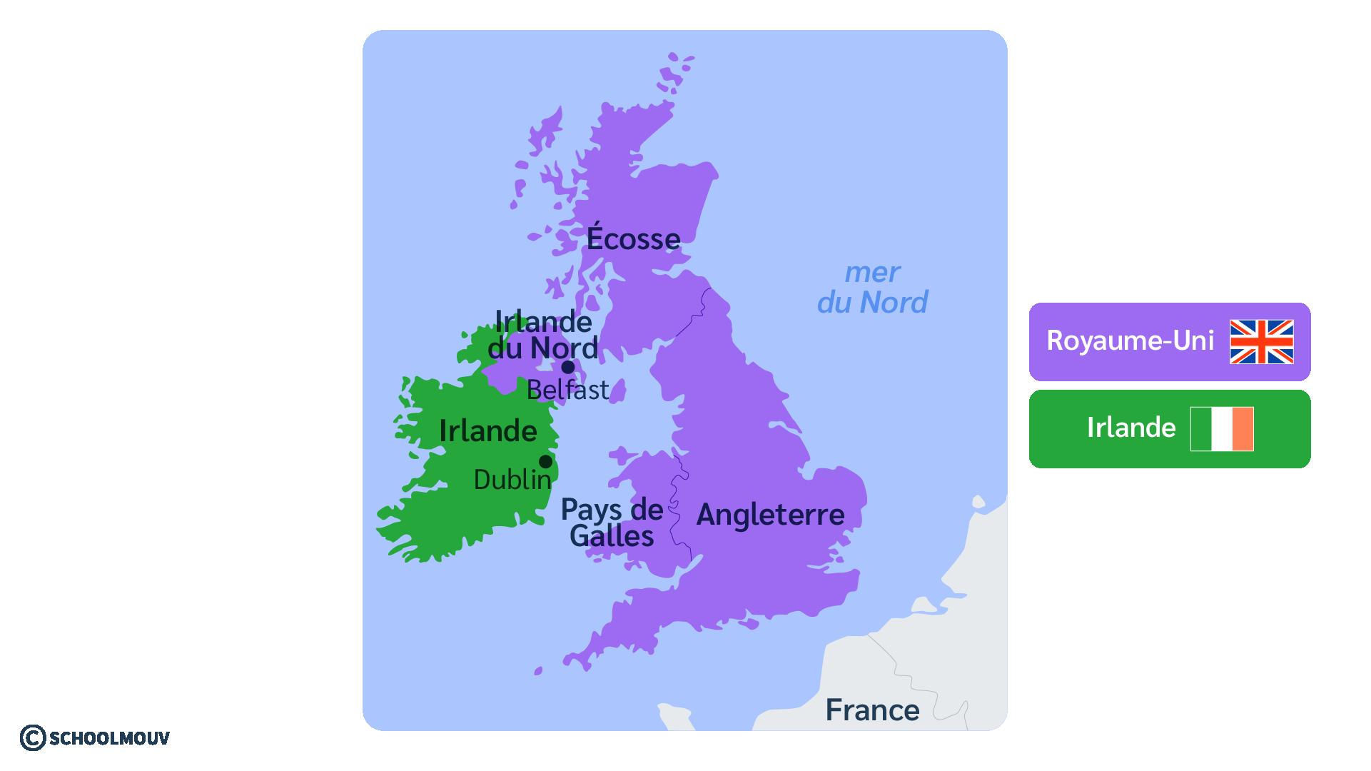 Irlande du Nord République d'Irlande Royaume-Unis anglais