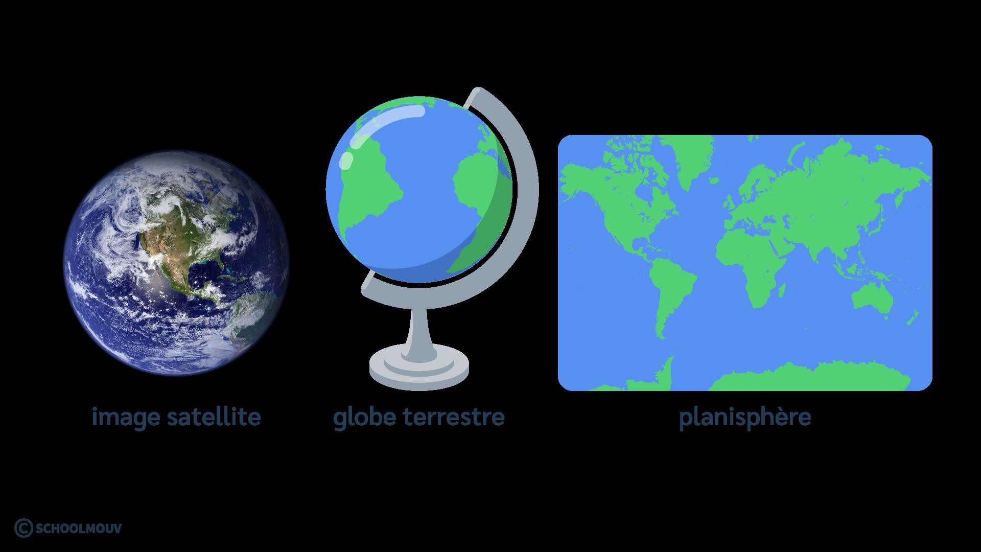 primaire questionner le monde géographie ce2 décrire la Terre globe planisphère image satellite