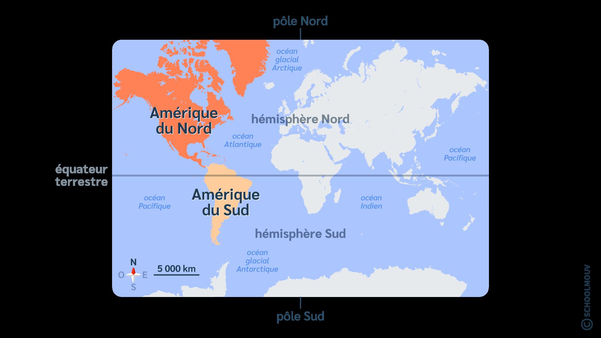 primaire questionner le monde géographie ce2 décrire la Terre Amérique du Nord et Amérique du Sud