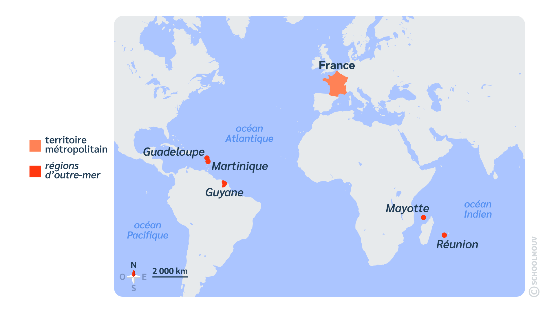 primaire questionner le monde géographie ce2 décrire un pays et ses régions outr-mer