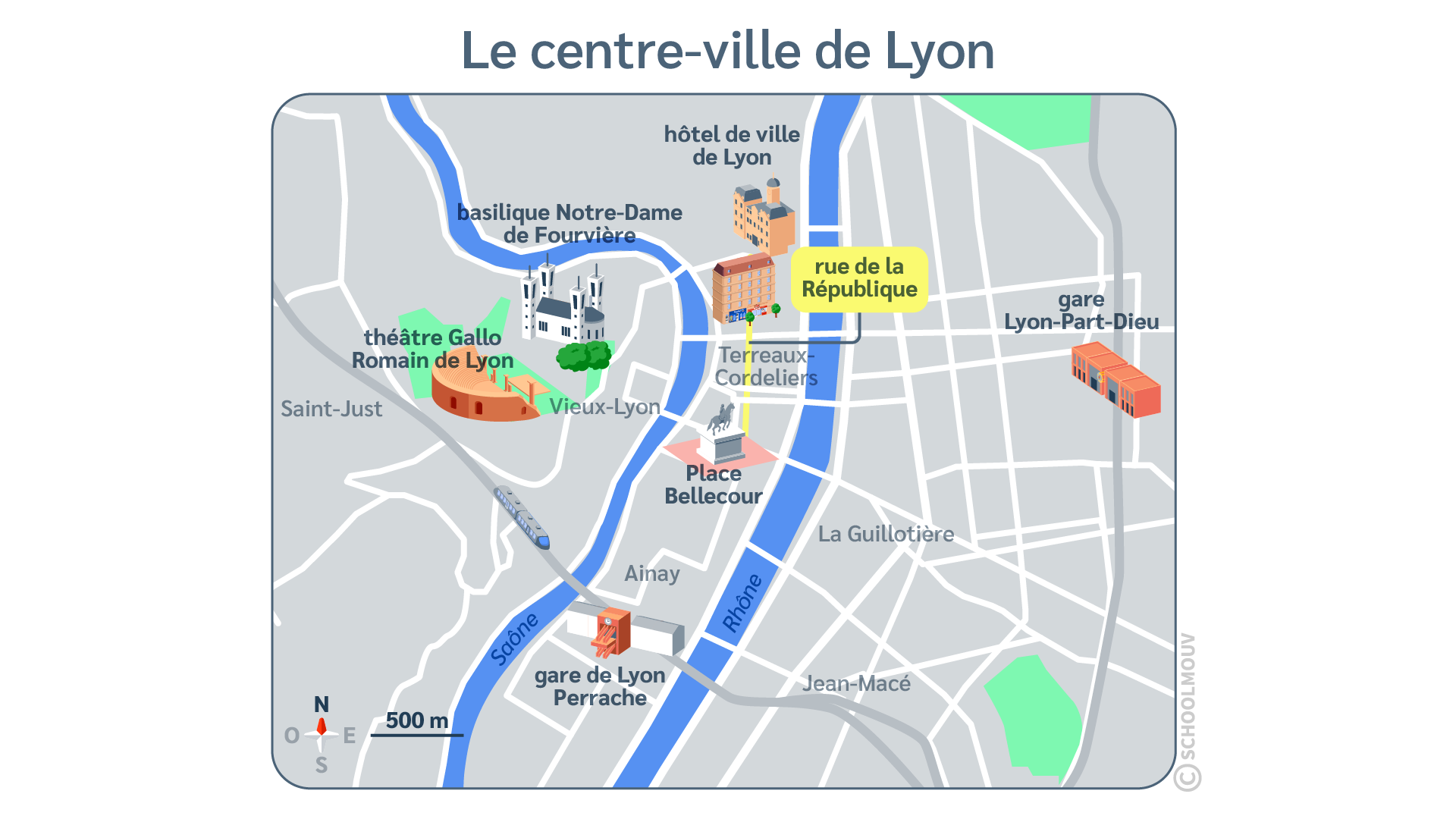 questionner le monde histoire ce2 un espace organisé la ville plan Lyon