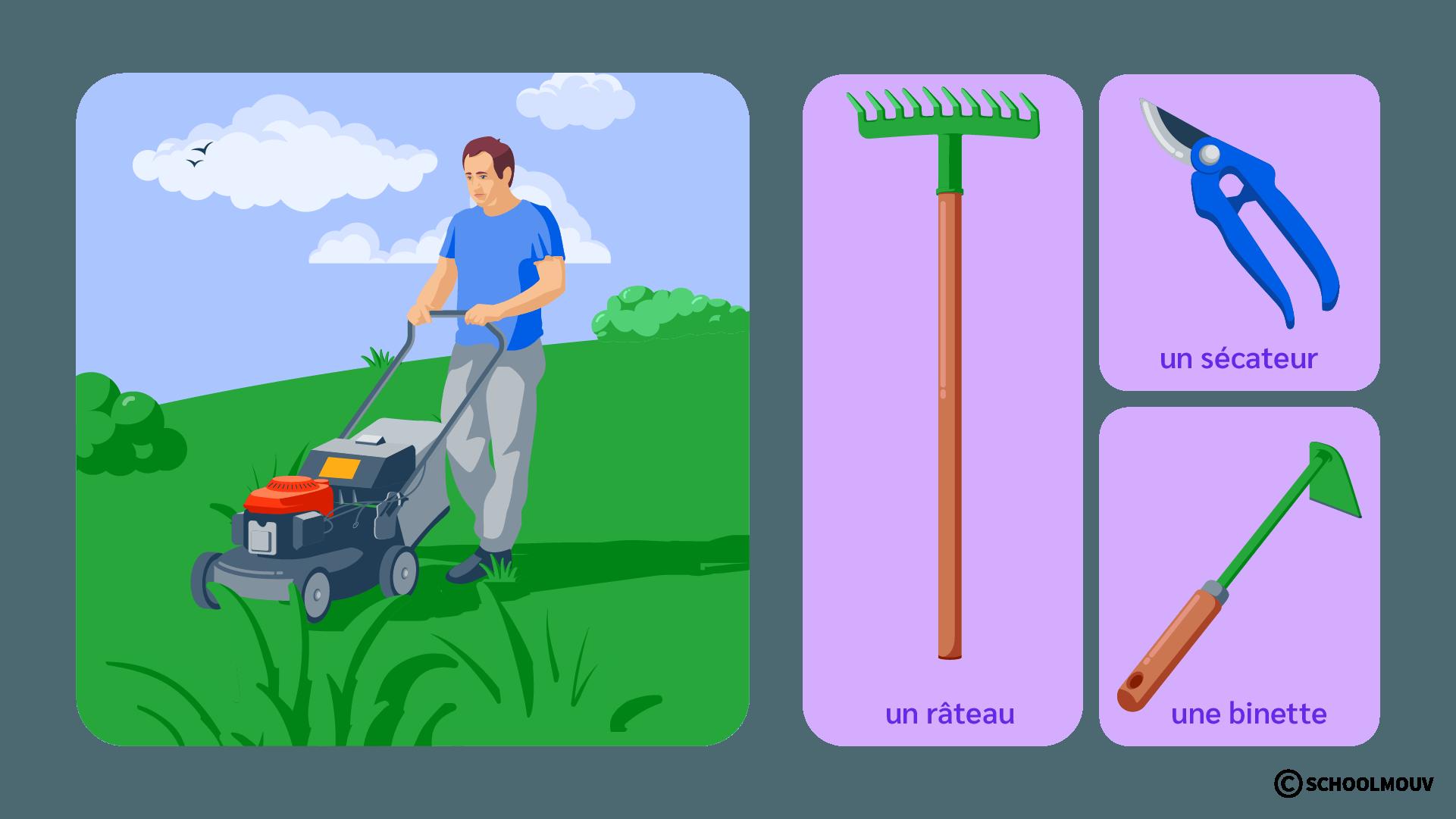 Jardinier - Outils - Râteau - Tondeuse - Sécateur - Binette - Jardin - Pelouse - Espace vert - SchoolMouv - Sciences - CE2