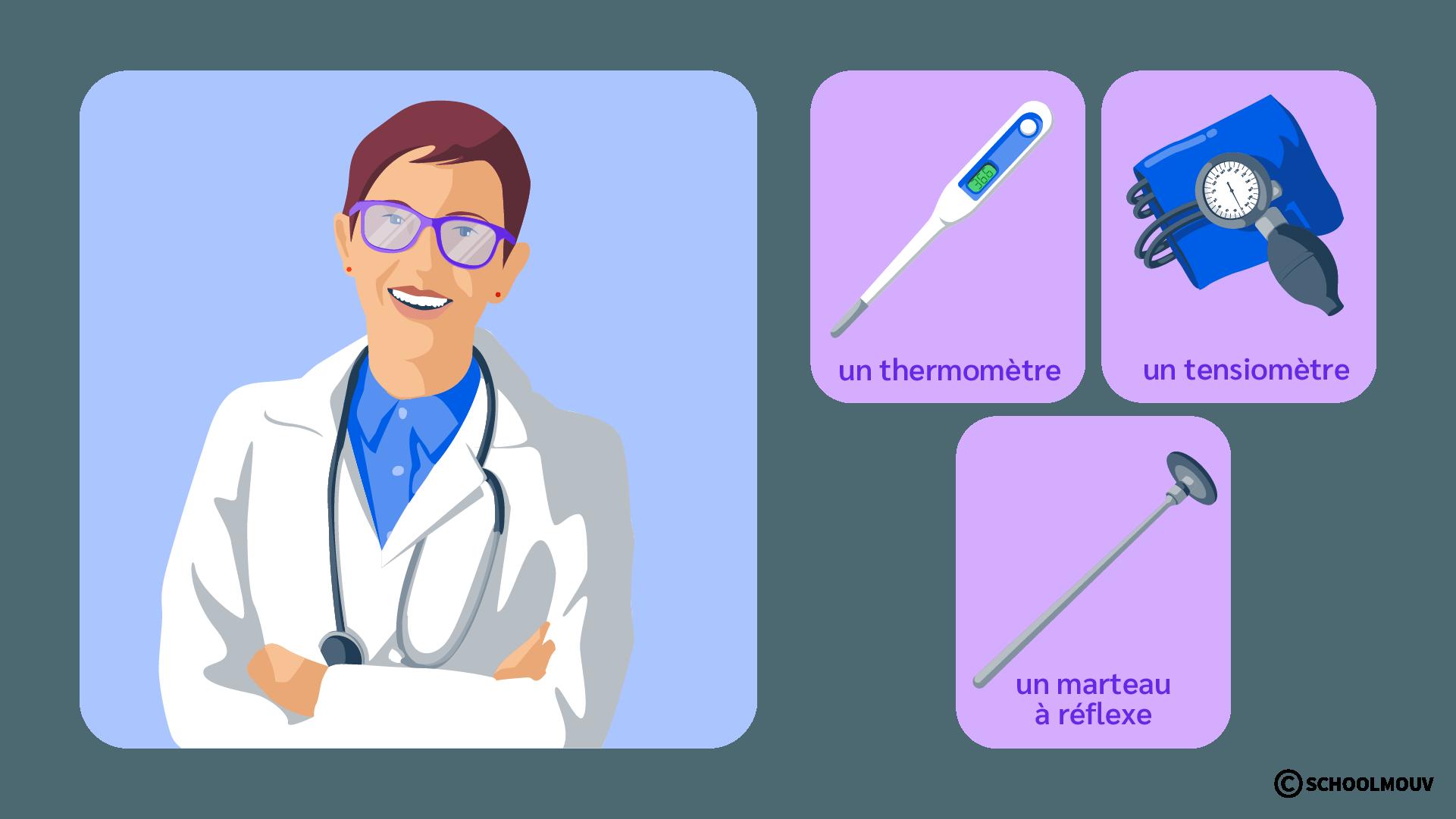 Médecin - Instruments - Stéthoscope - Thermomètre - Tensiomètre - Marteau à réflexe - SchoolMouv - Sciences - CE2