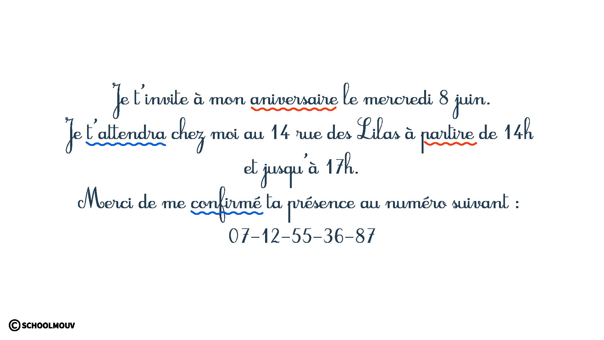 Carton d'invitation - Fautes d'orthographe - Grammaire - Typographie - SchoolMouv - Sciences - CE2