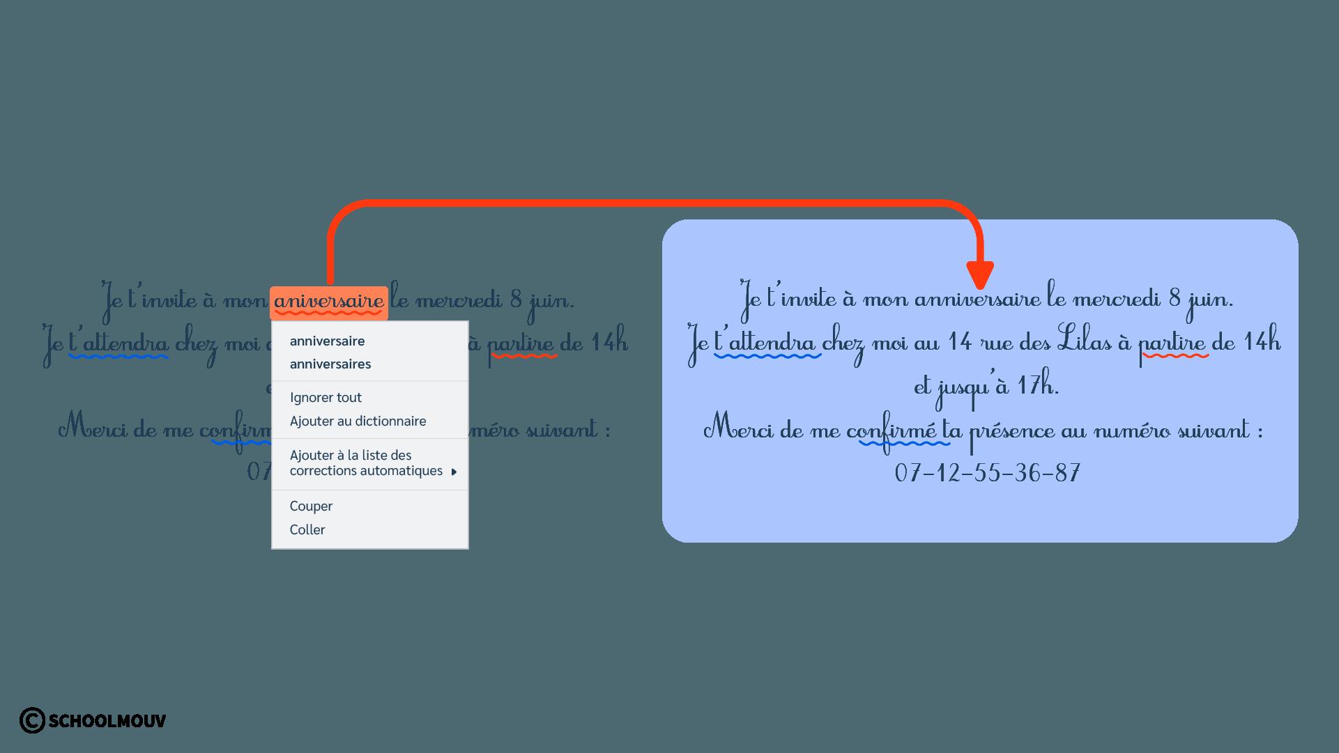 Carton d'invitation - Fautes d'orthographe - Grammaire - Correction - Typographie - SchoolMouv - Sciences - CE2