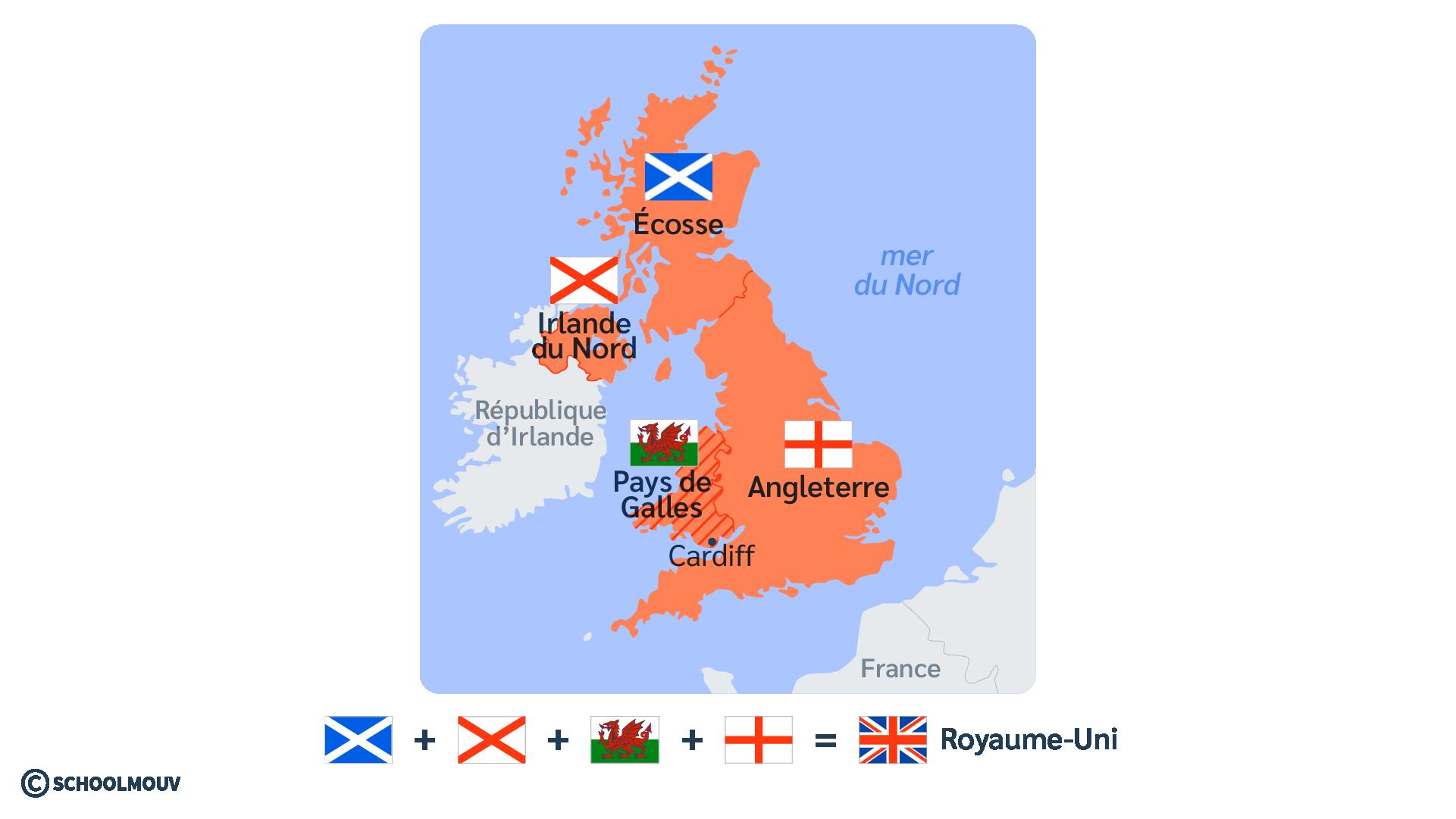 carte Royaume-Uni Pays de Galles anglais