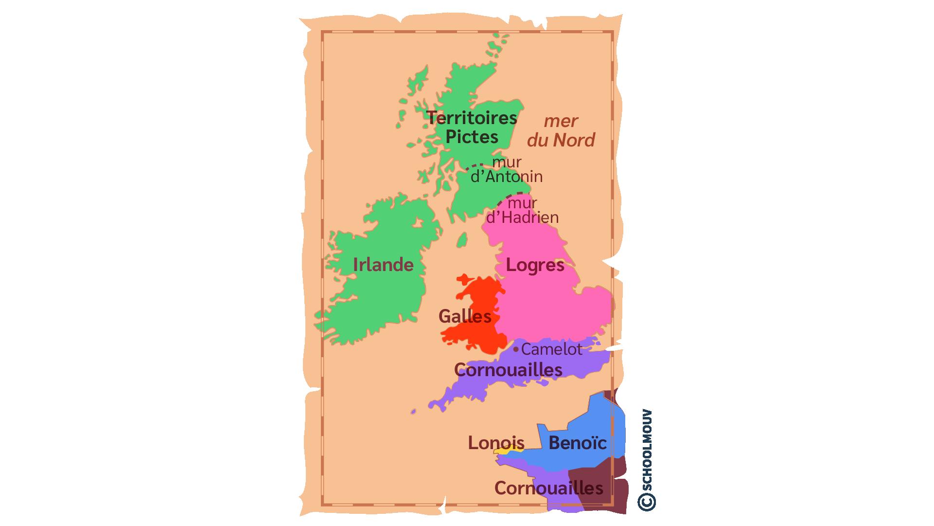 Carte du Royaume de l'île de Bretagne dans les légendes arthuriennes anglais