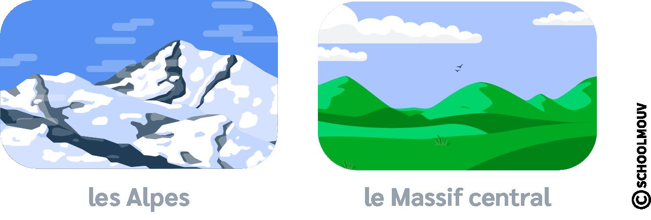 Montagnes - Neige - Arbres - Haute montagne - Basse montagne - Massif central - Alpes - SchoolMouv - Géographie - CM1