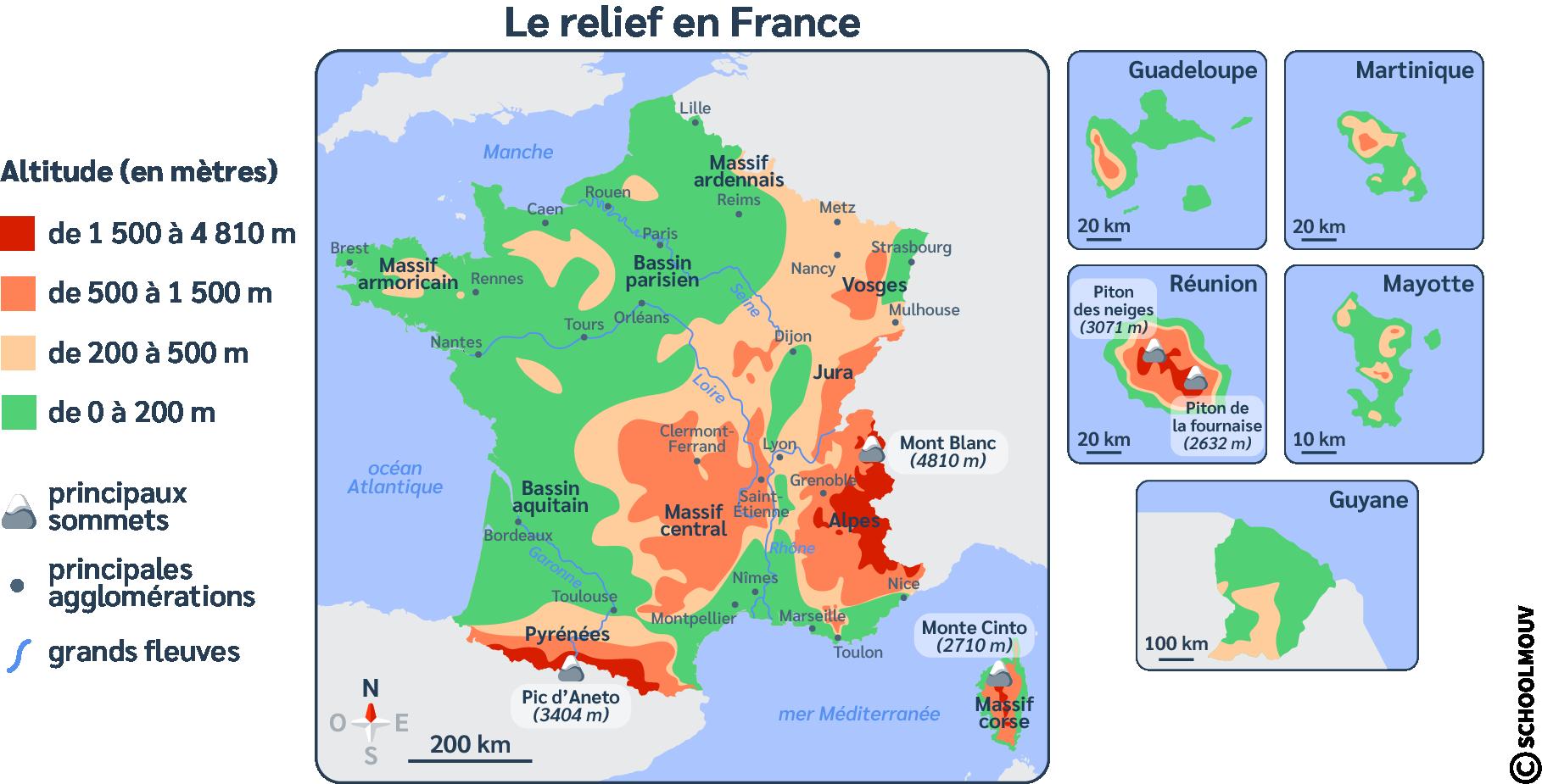 Carte - France - Reliefs - Montagne - Plaine - Territoire - SchoolMouv - Géographie - CM1