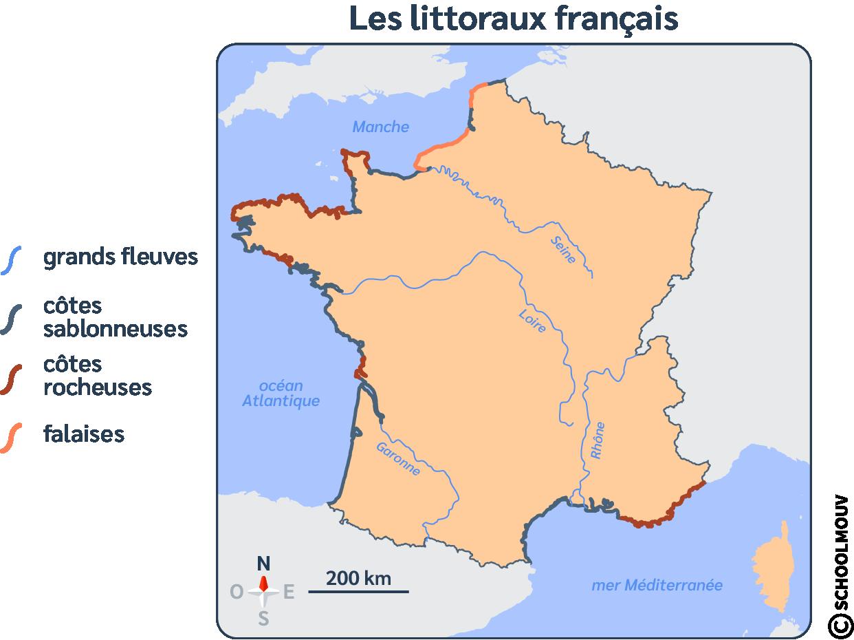 Carte - France - Littoraux - Rocheux - Sablonneux - Falaises - SchoolMouv - Géographie - CM1