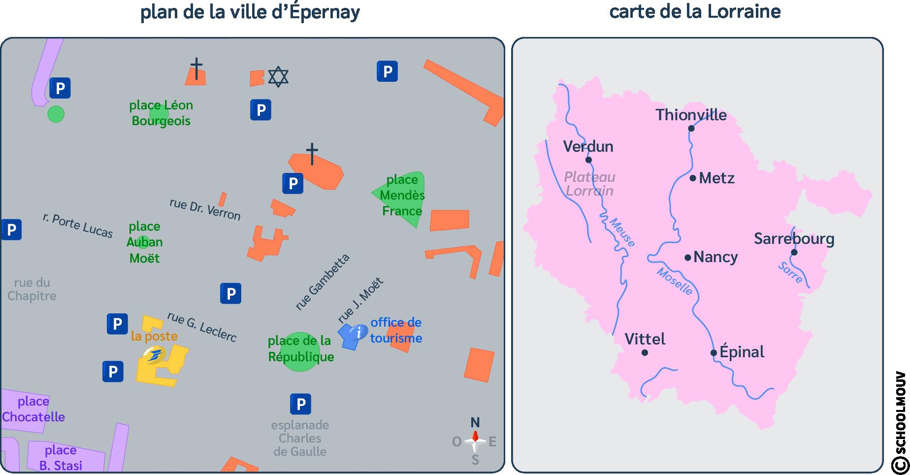 Plan - Épernay - Carte - Lorraine - Indications - Repérer - Orientation - SchoolMouv - Géographie - CM1