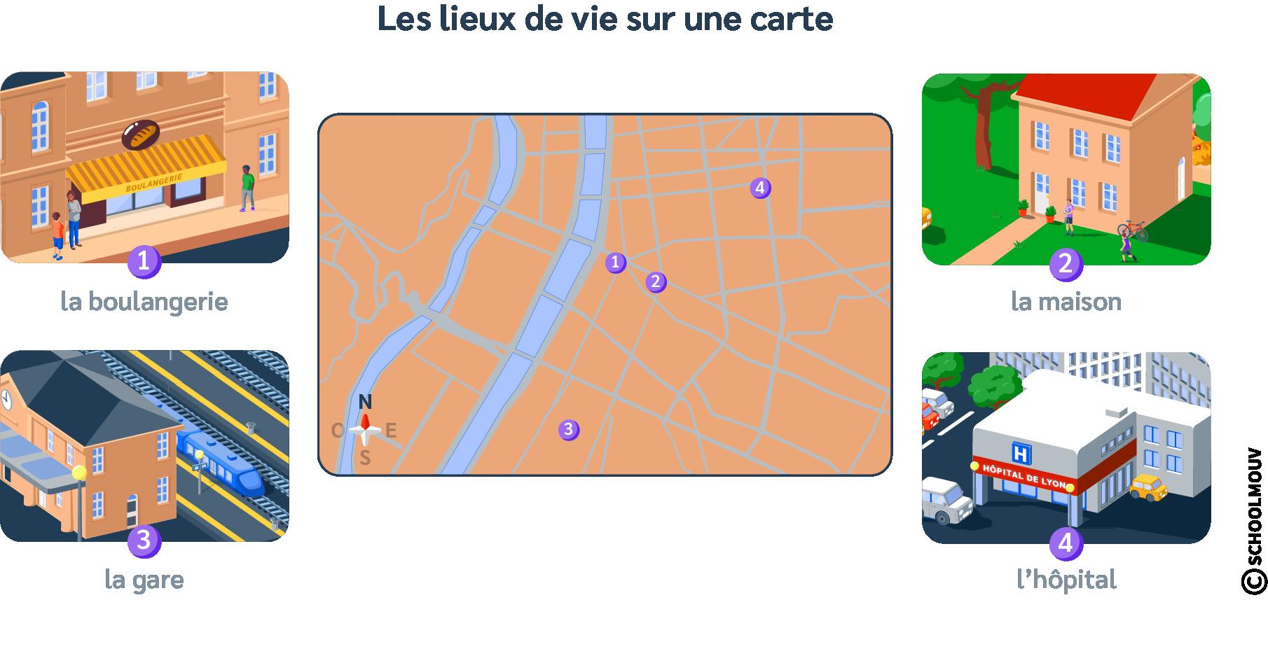 Lieu de vie - Carte - Emplacement - Lyon - Distance - SchoolMouv - Géographie - CM1