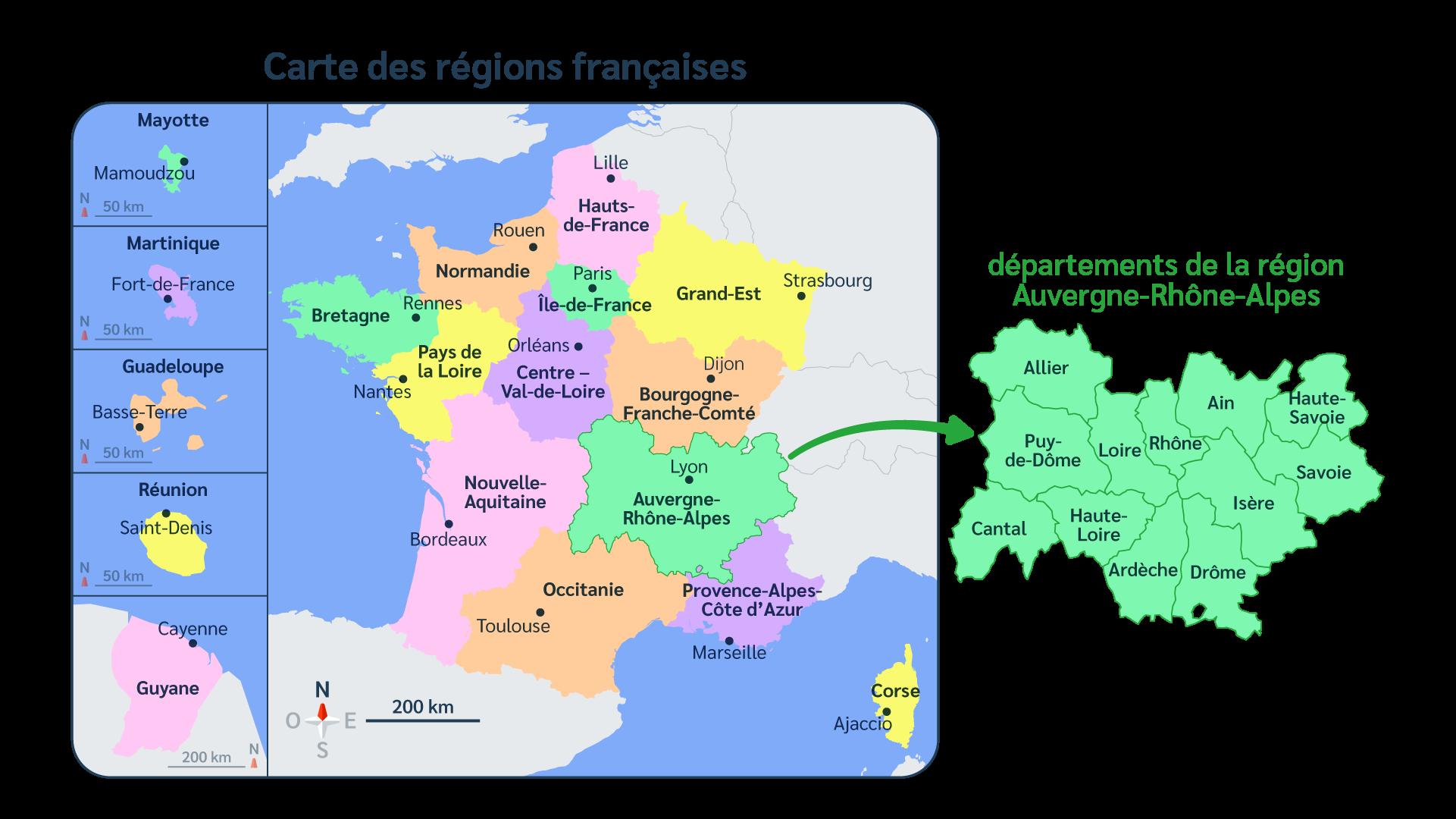 France - Carte - Régions - Départements - Outre-mer - SchoolMouv - Géographie - CM1