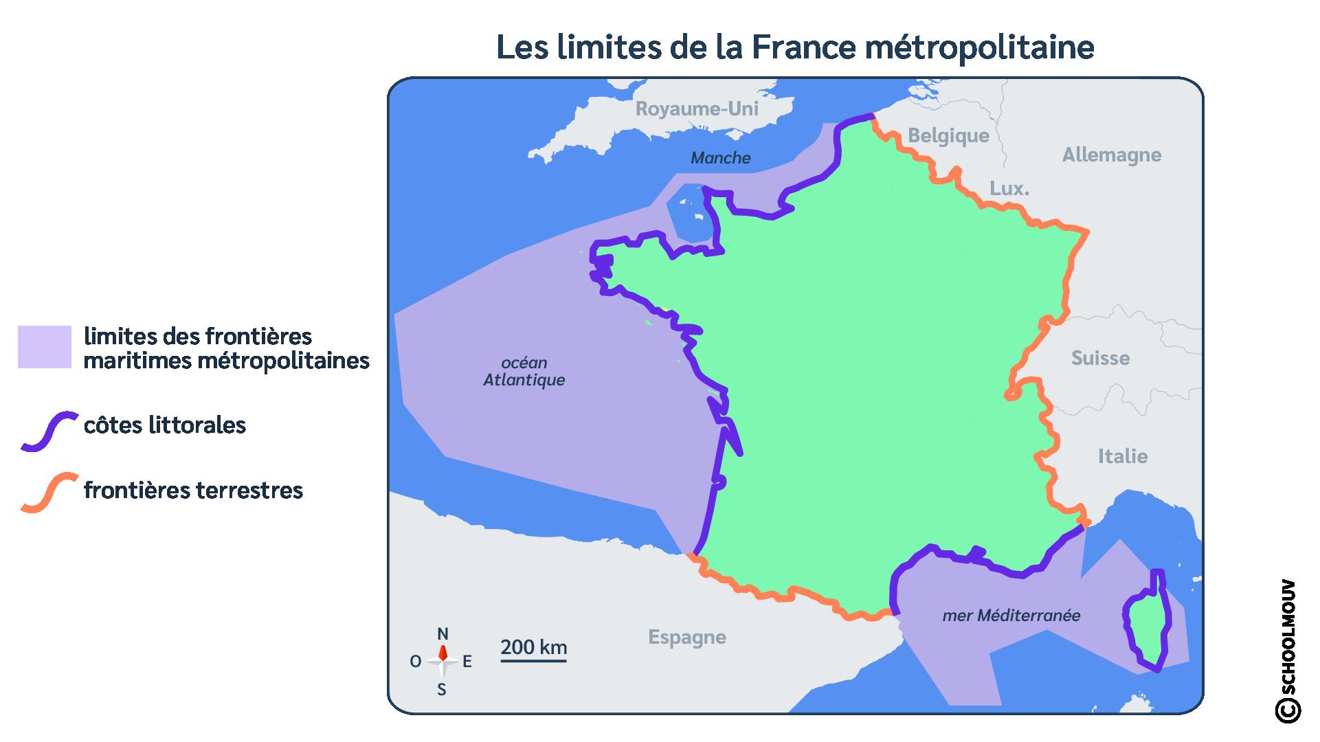 France - Carte - ZEE - Frontières maritimes - Frontières terrestres - SchoolMouv - Géographie - CM1