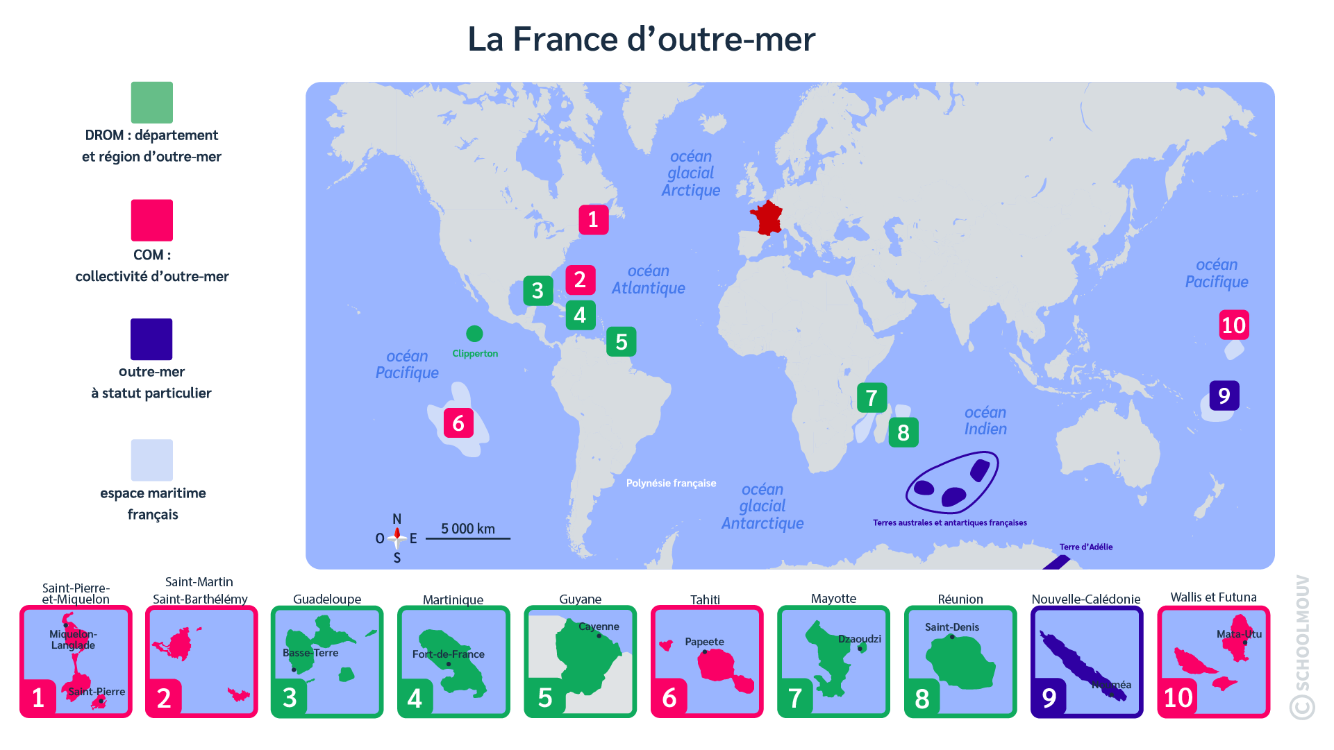 France - Outre-mer - Métropole - Monde - Planisphère -