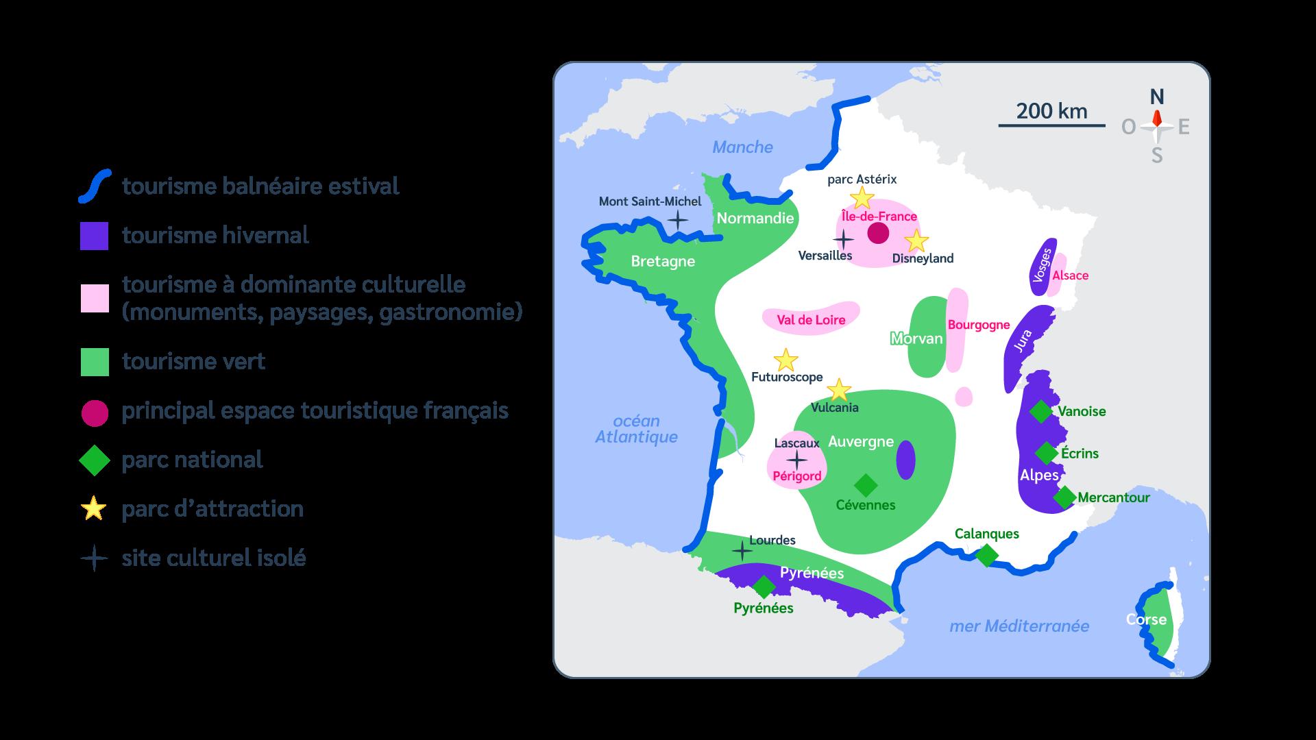 Carte - France - Tourisme - Parcs d'attraction - Parcs nationaux - SchoolMouv - Géographie - CM1