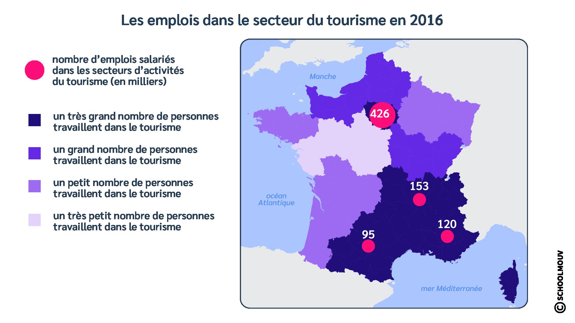 Carte - Emplois dans le secteur du tourisme - Nombre d'emplois - France - Métropole - SchoolMouv - Géographie - CM1