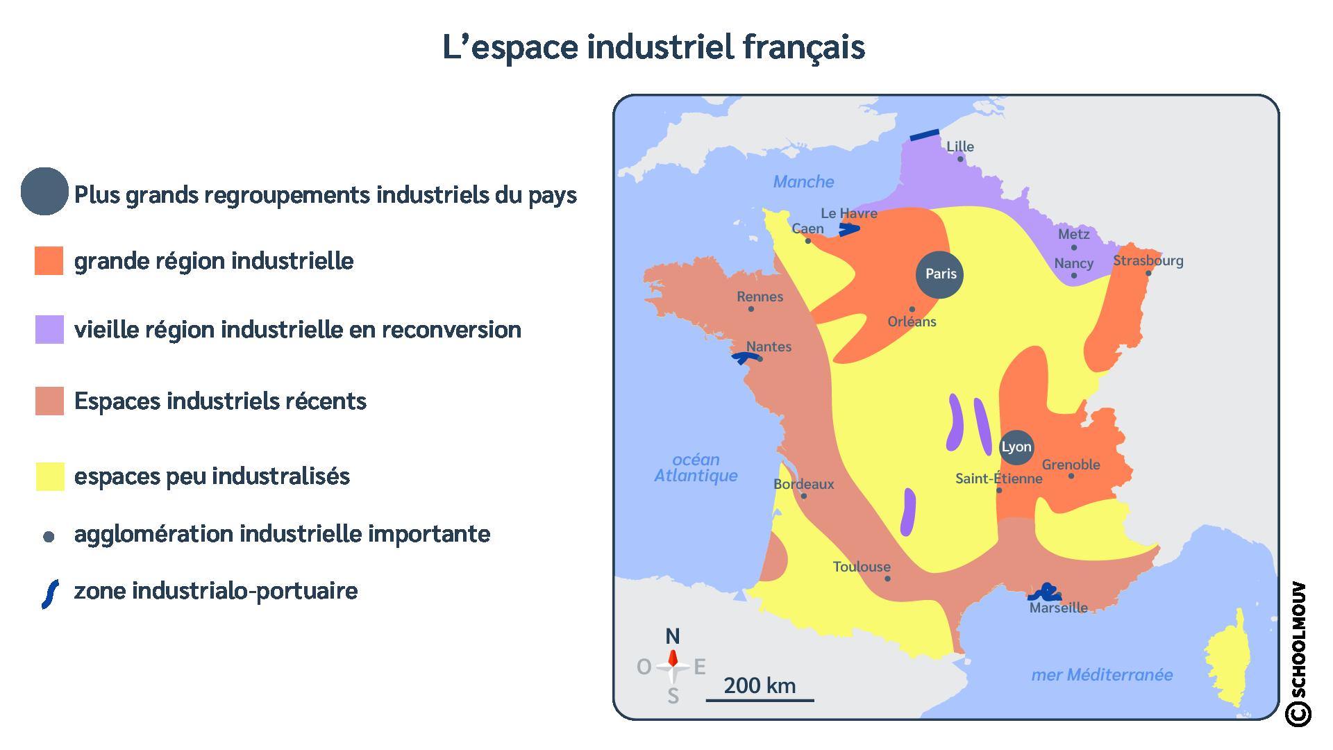 Carte - France - Métropole - Espaces industriels - SchoolMouv - Géographie - CM1