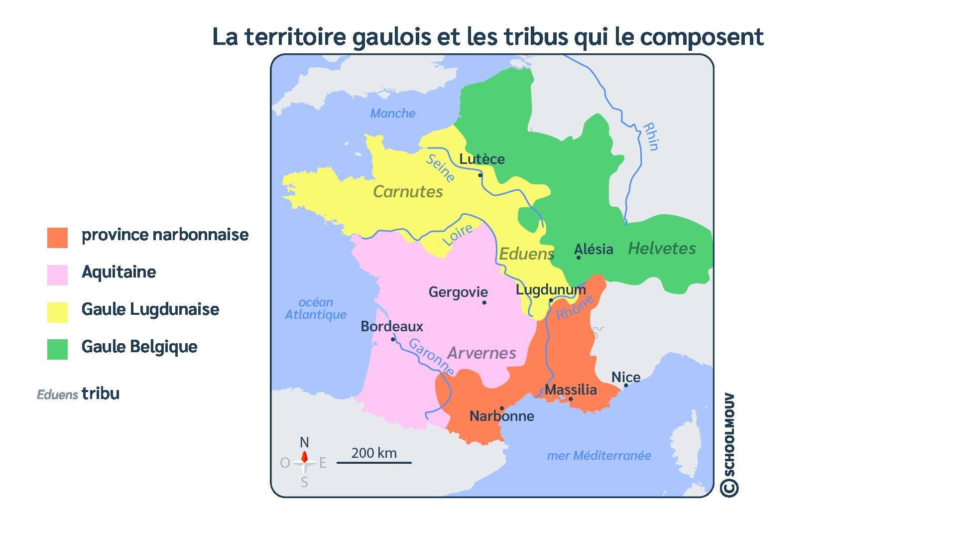 Gaule - Carte - Tribus - Antiquité - Provinces - Rome - Histoire - SchoolMouv - Histoire - CM1