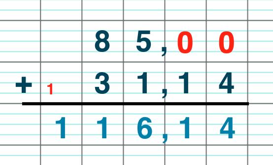 primaire mathématiques cm1 poser et calculer une addition de deux nombres décimaux