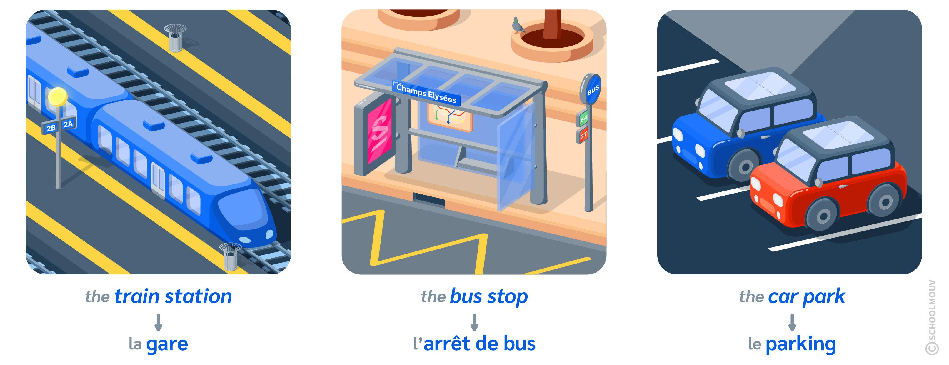 transports ville anglais train bus car park