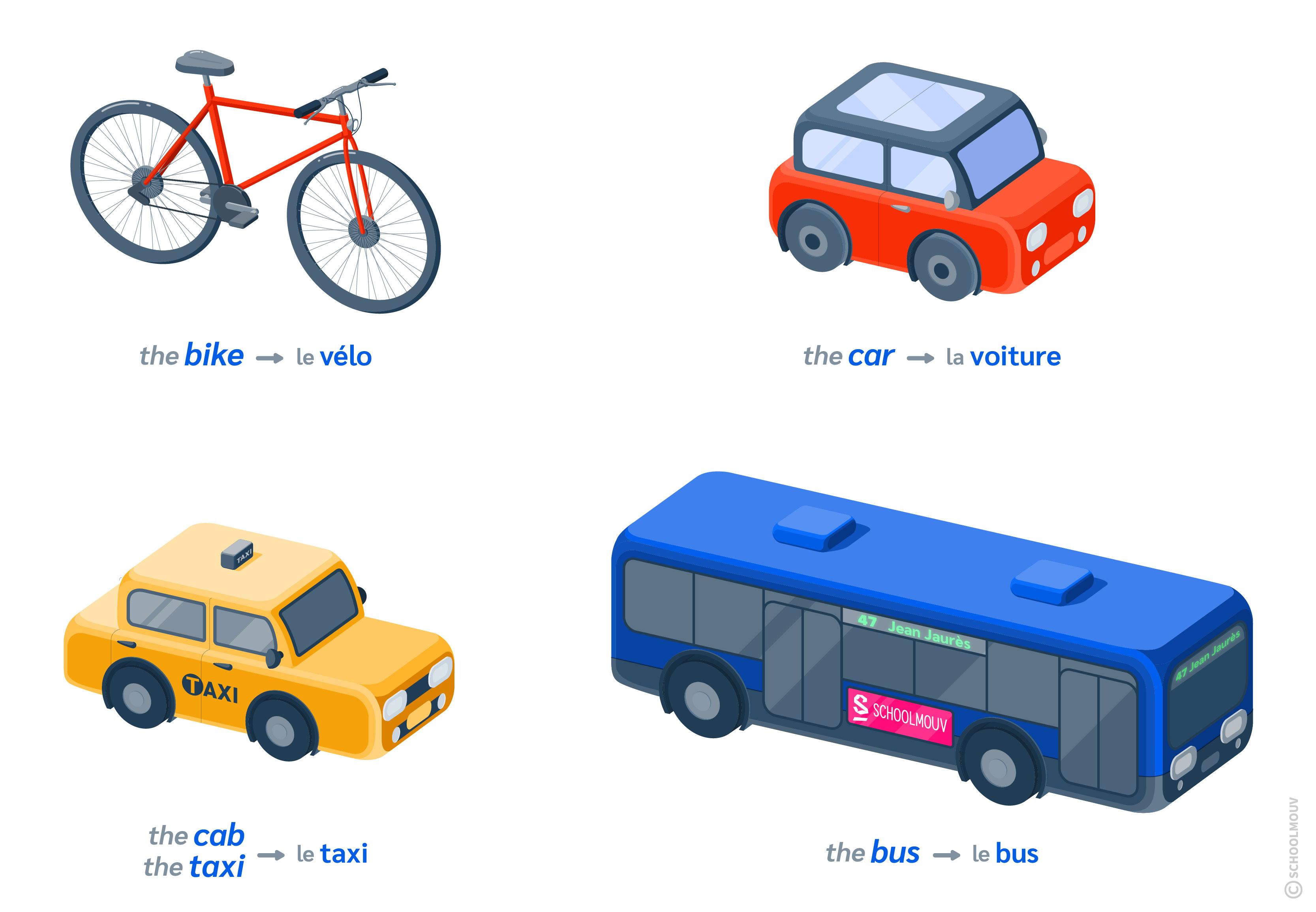 transports anglais bus bike car cab