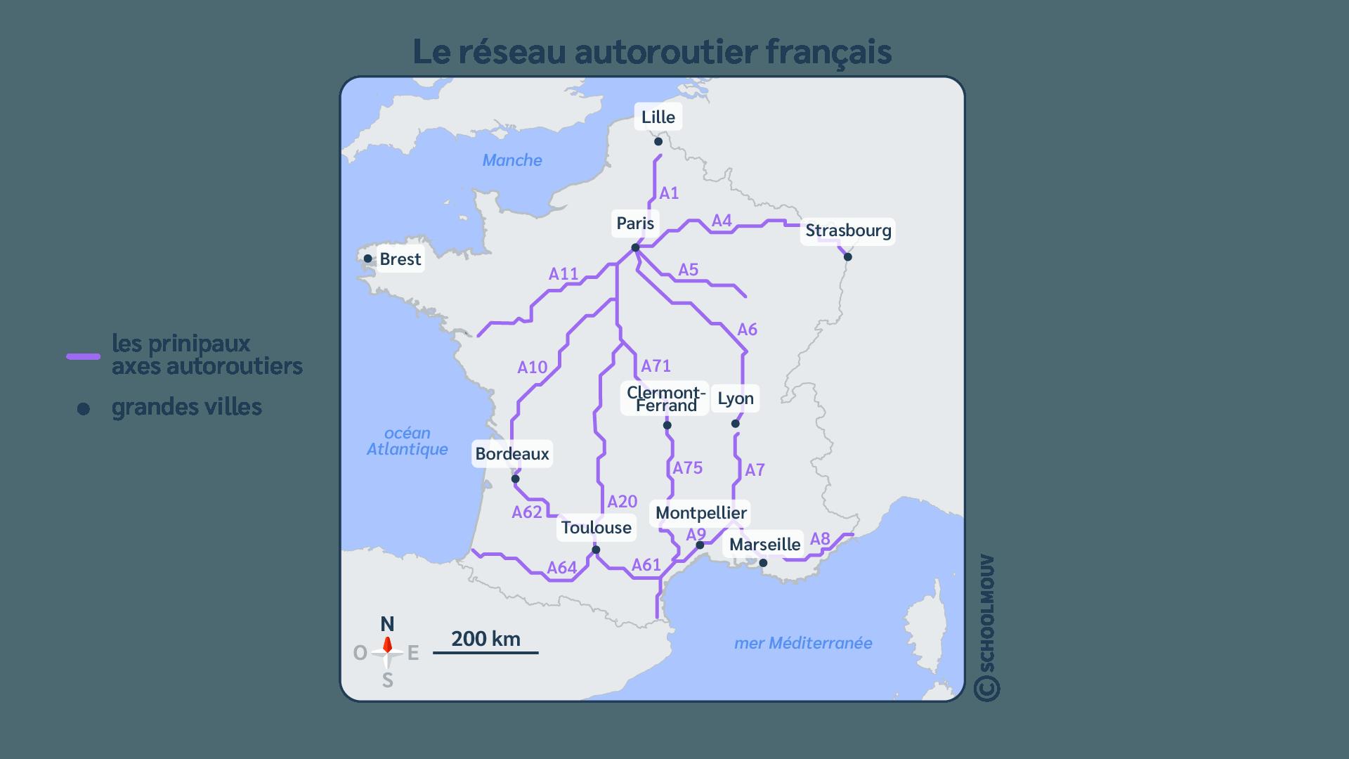 France - Carte - Autoroutes - Réseau - Transport - Déplacement - Véhicules - SchoolMouv - Géographie - CM2