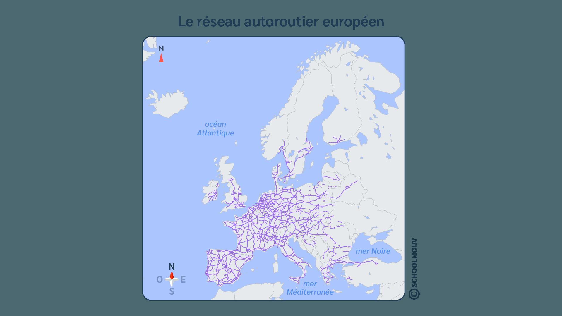 Europe - Carte - Autoroutes - Réseau - Transport - Déplacement - Véhicules - SchoolMouv - Géographie - CM2