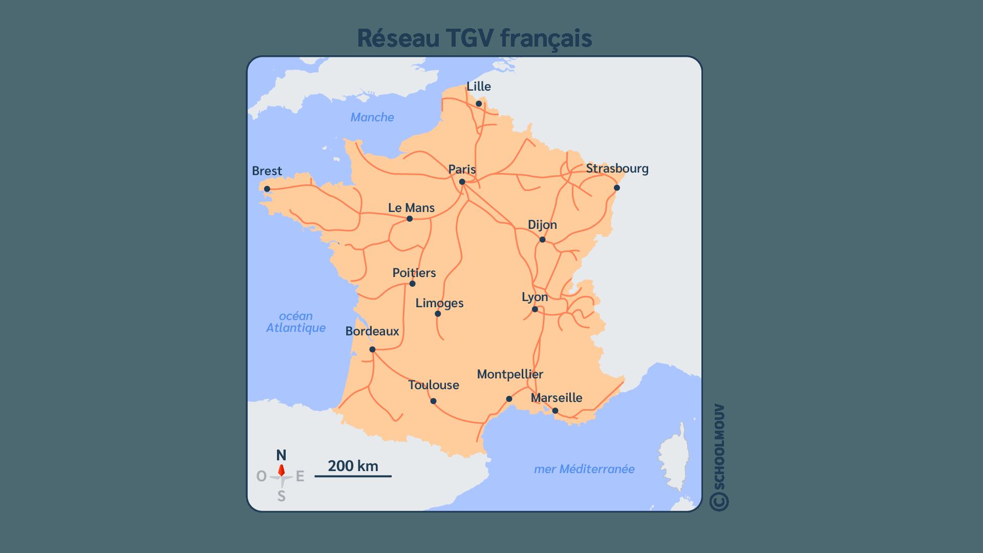 France - Carte - Train - Réseau - Transport - Déplacement - Ferroviaire - TGV - SchoolMouv - Géographie - CM2