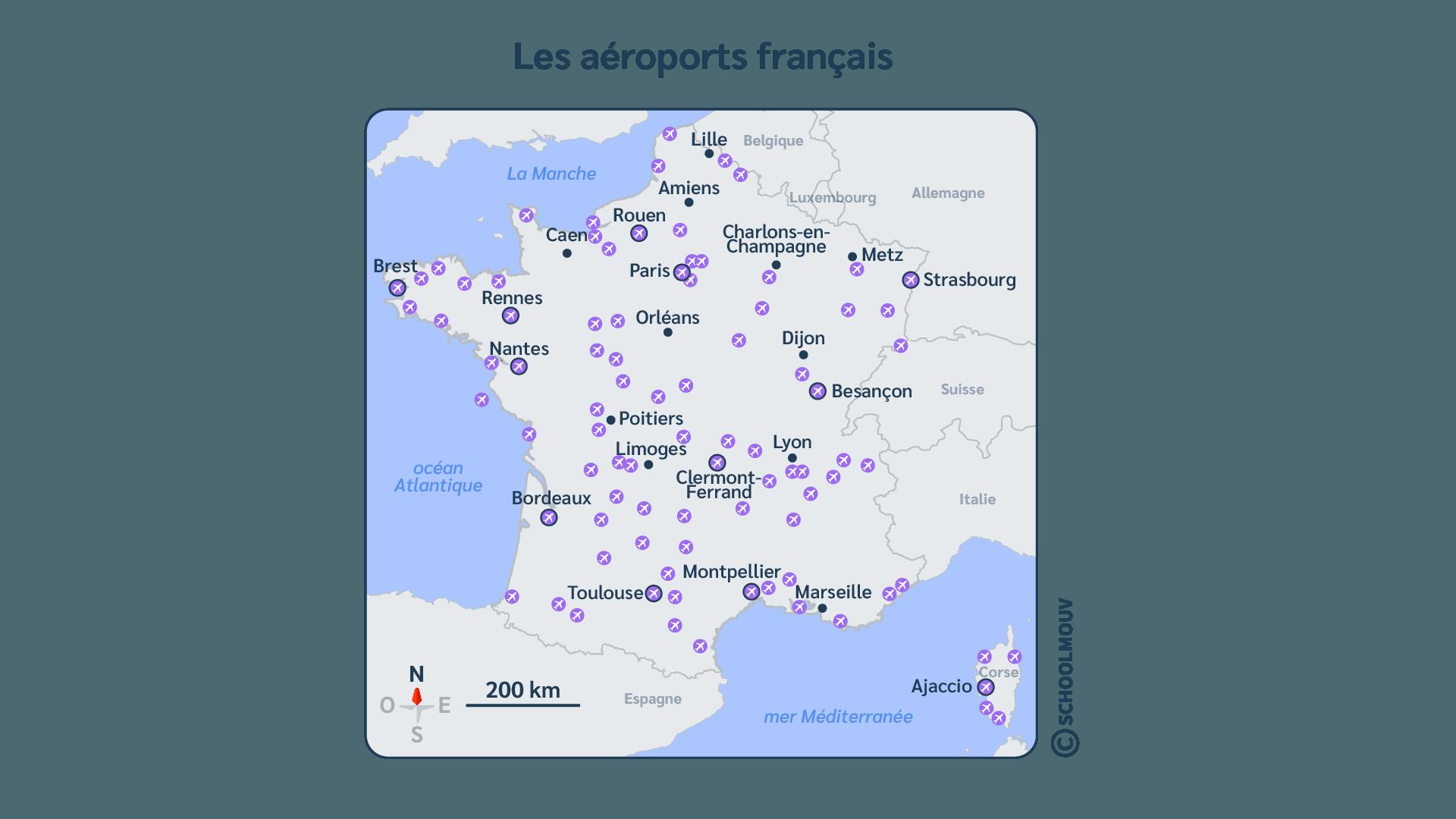 France - Carte - Avion - Réseau - Transport - Déplacement - Aéroport - SchoolMouv - Géographie - CM2