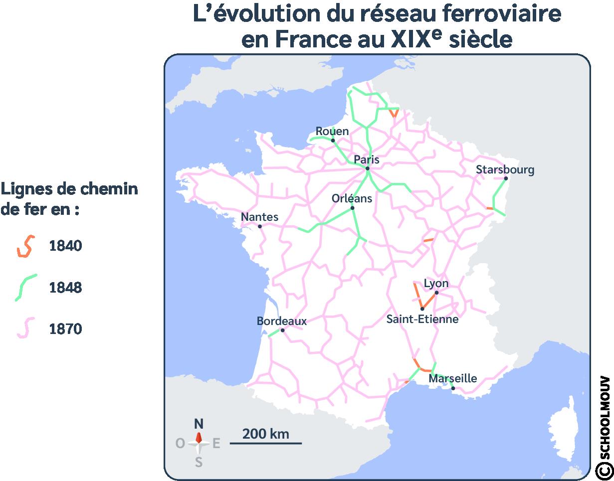 Réseau ferroviaire - Chemin de fer - Carte - France - Train - SchoolMouv - Histoire - CM2