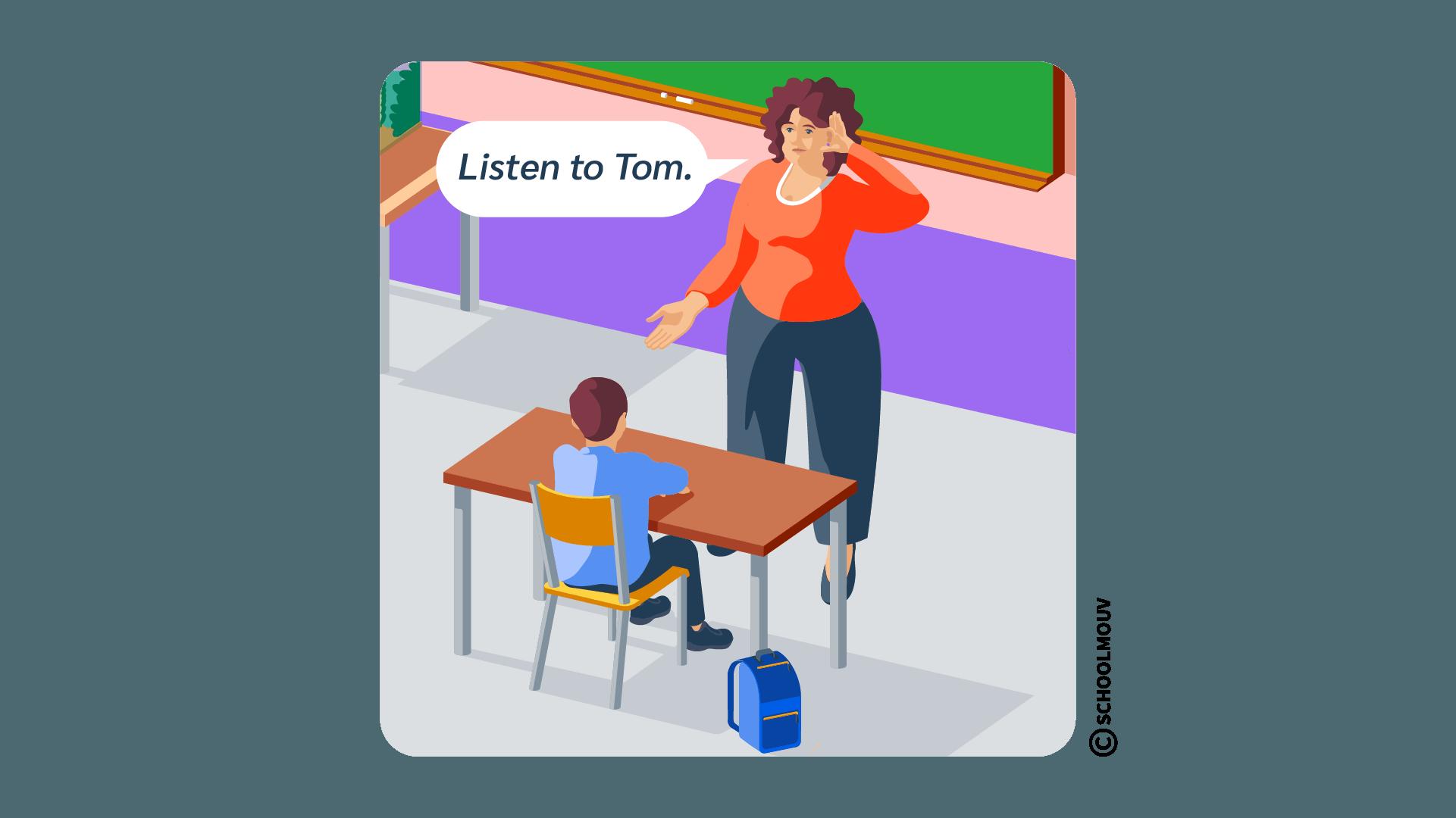 listen écouter anglais consigne classe