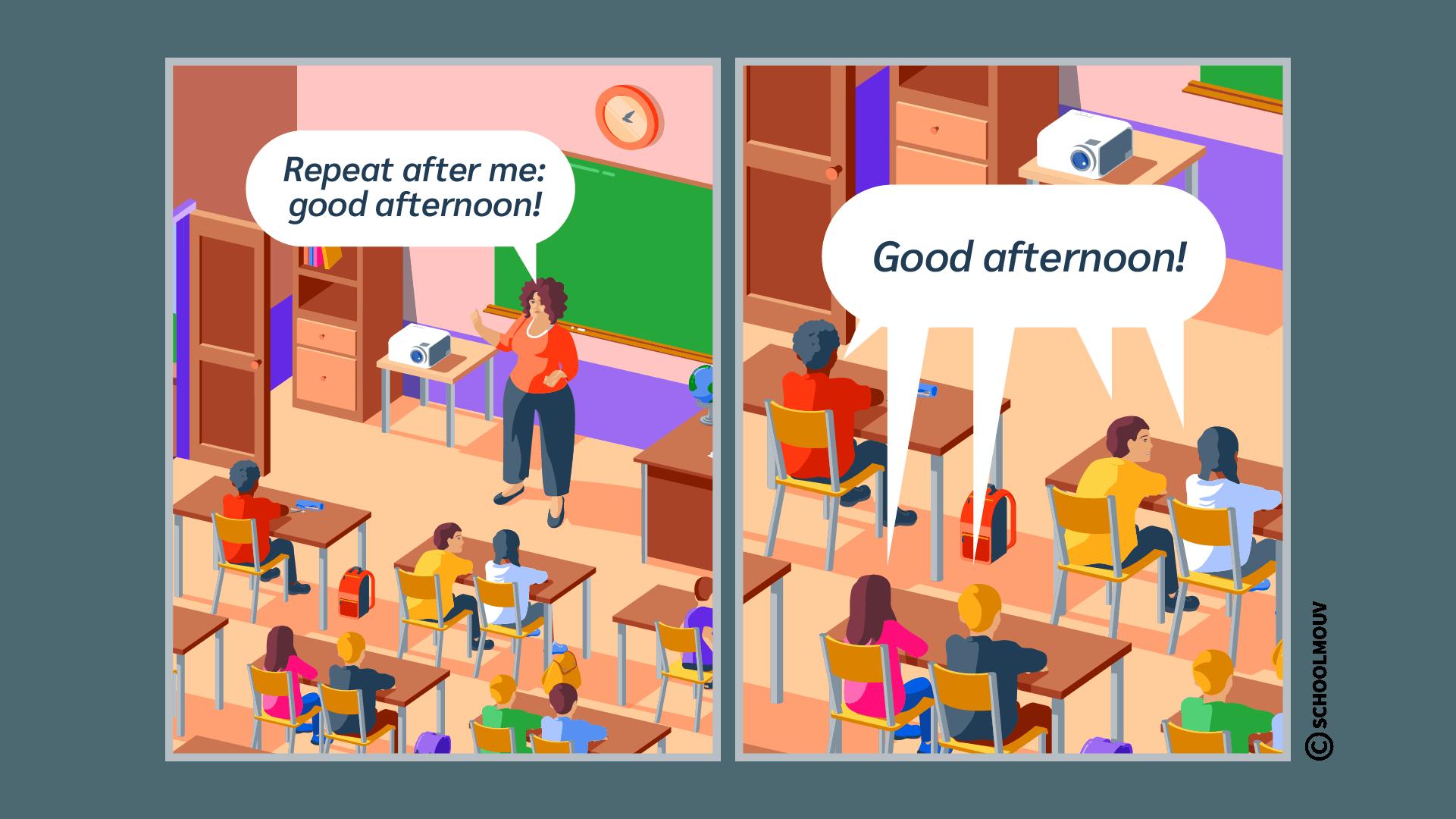 repeat répéter anglais consigne classe