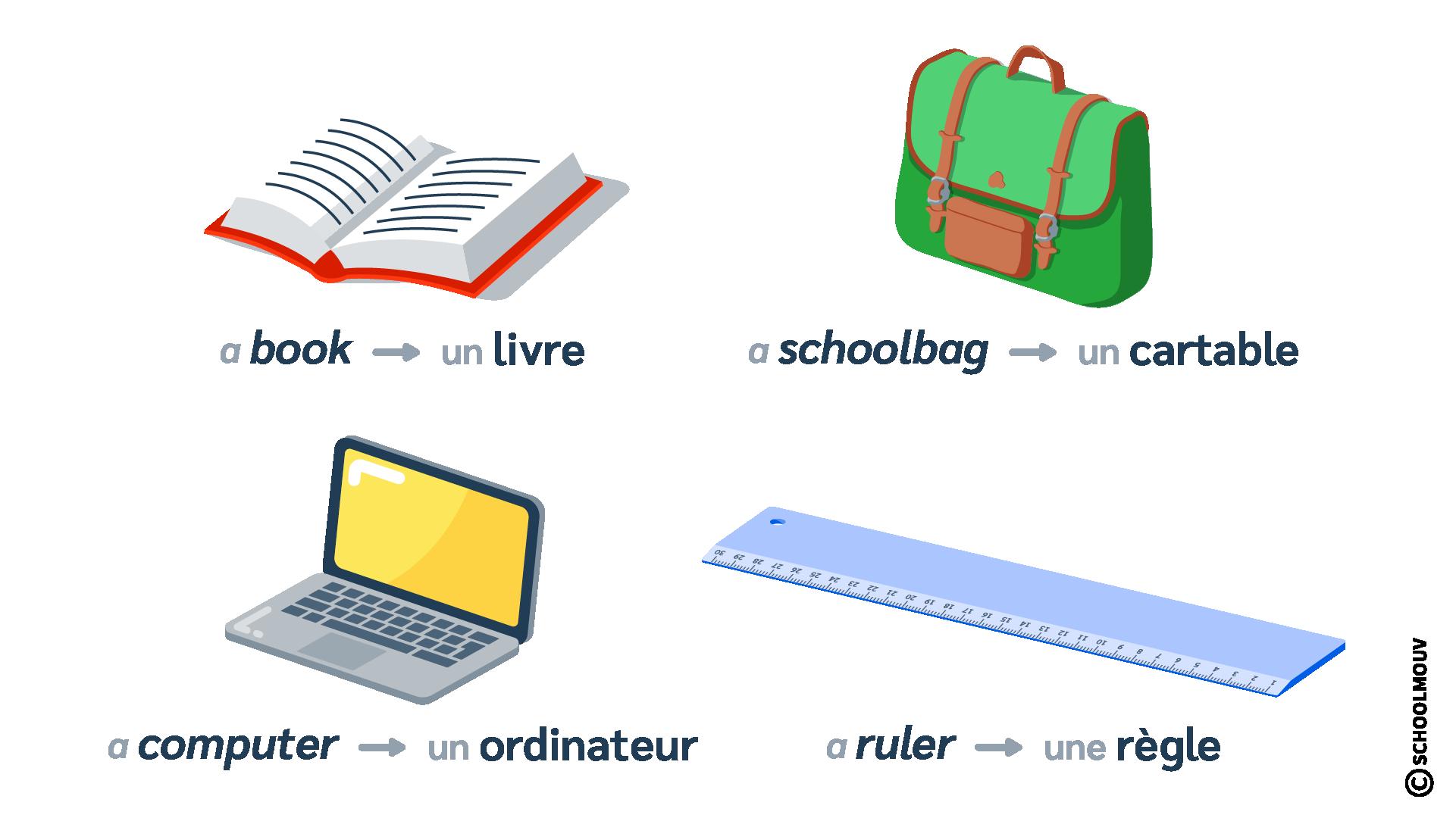objets classe classroom anglais